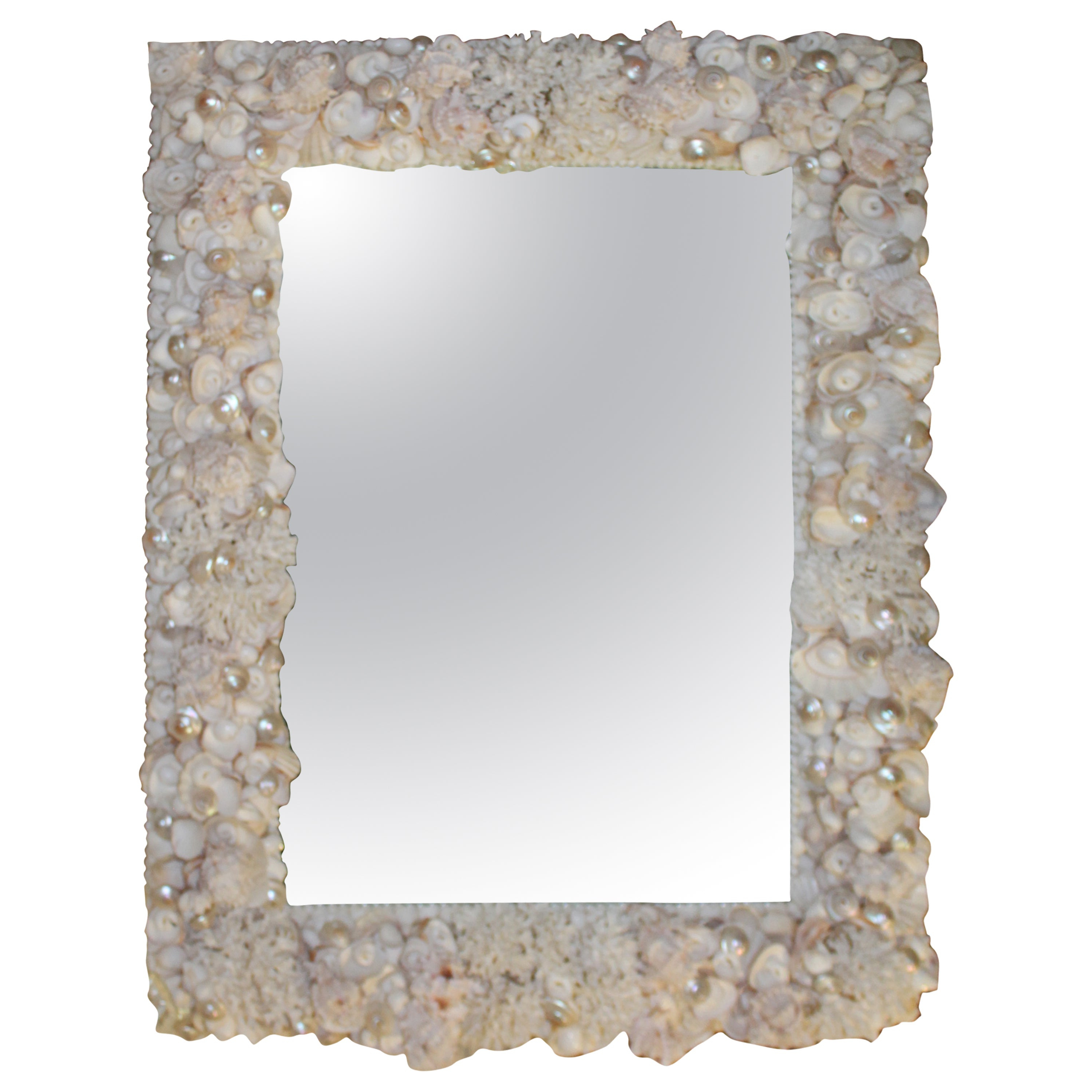 Seashell Wall Mirrors Within Best And Newest Seashell Encrusted Vintage Wall Mirror Palm Beach Vintage Coral Shell (View 16 of 20)