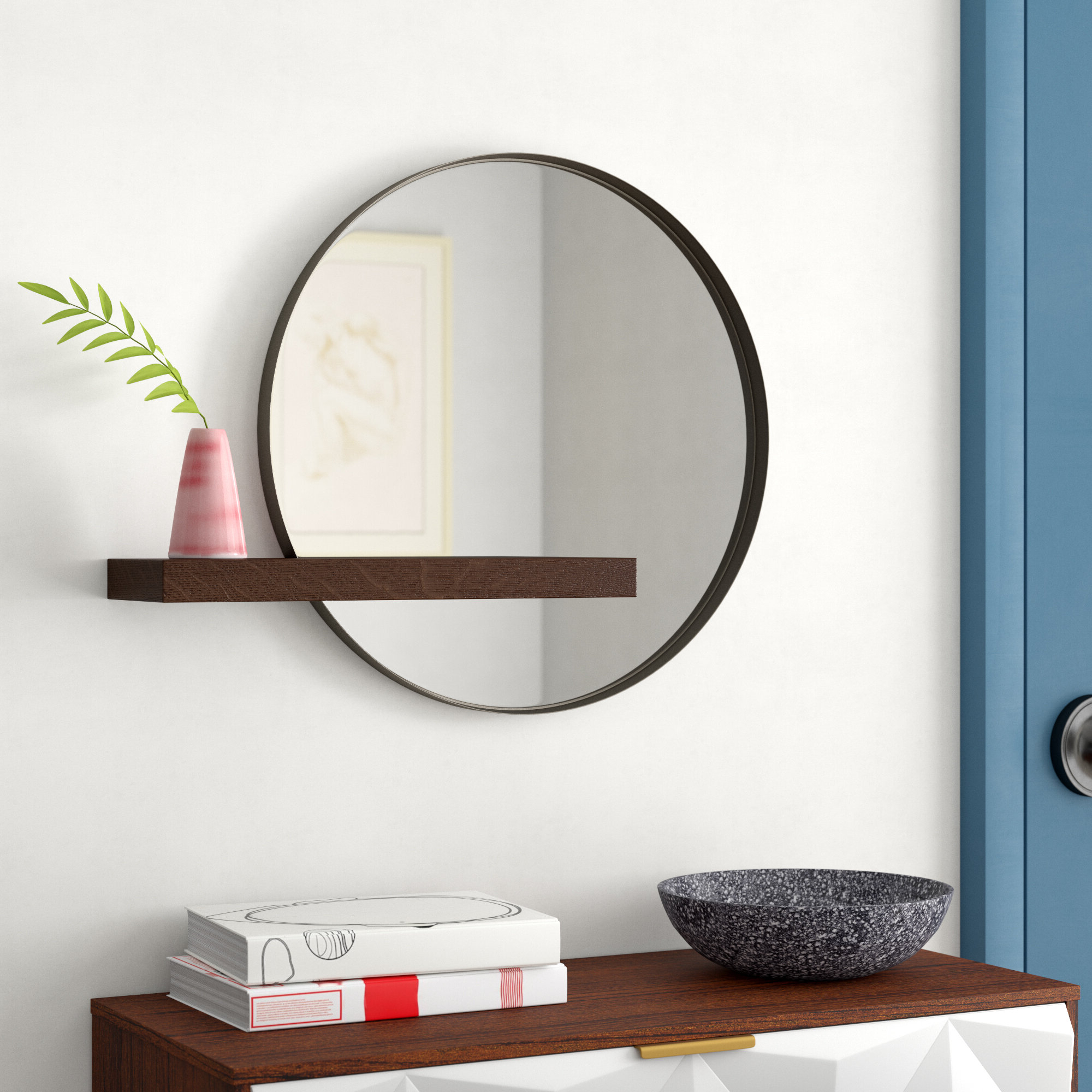 Seibert Round With Shelves Accent Mirror Throughout Recent Swagger Accent Wall Mirrors (View 7 of 20)