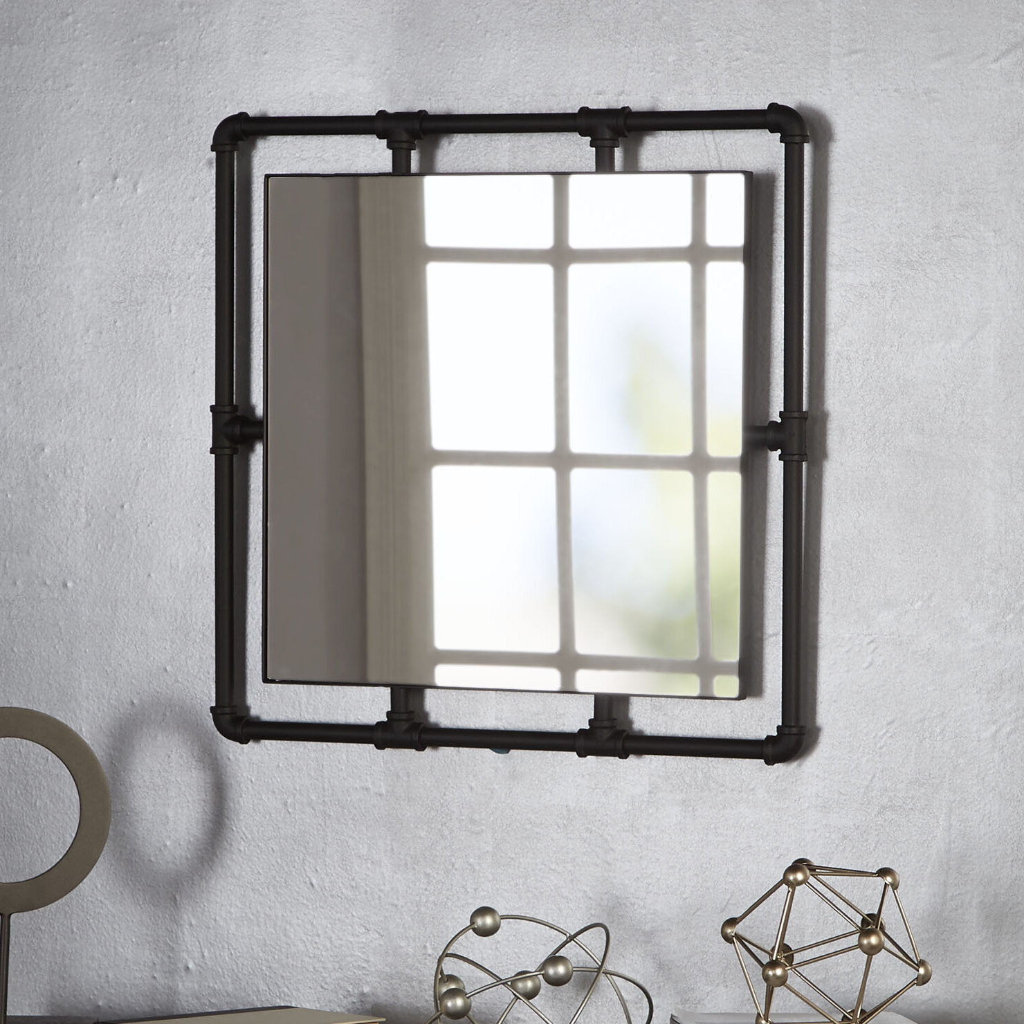 Seltzer Industrial Square Pipe Fitting Accent Mirror Regarding Most Recent Koeller Industrial Metal Wall Mirrors (View 16 of 20)