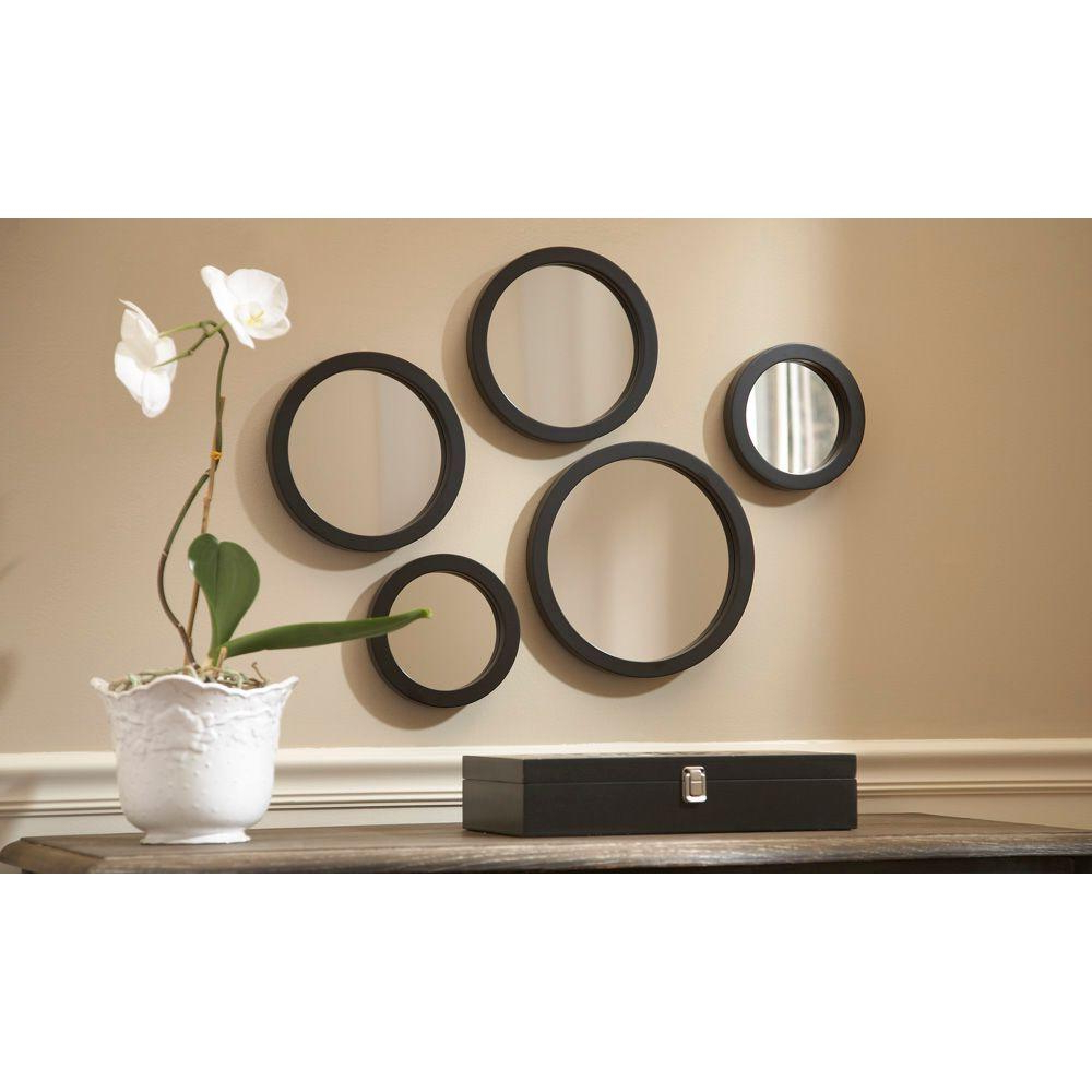 Seneca 5 Piece Framed Mirror Set In Favorite Circle Wall Mirrors (View 8 of 20)