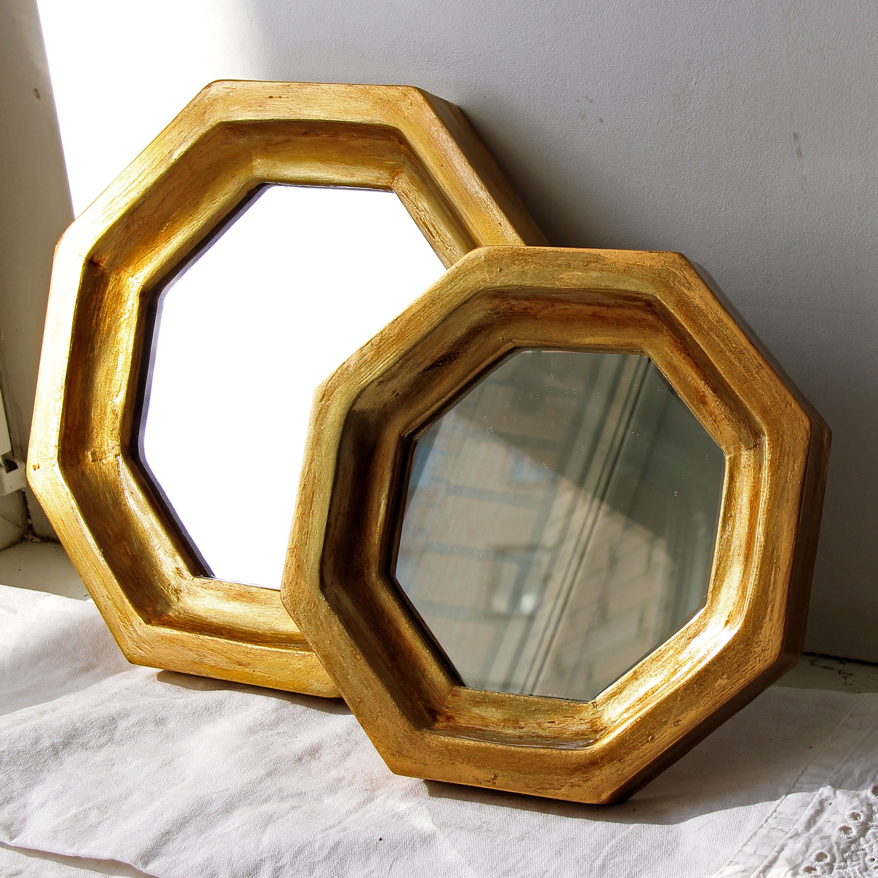 Set Of 2 Octagon Wall Mirrors Small Wall Mirror Vintage Style Gold Mirror  Vintage Wall Decor Octagon With Well Known Small Vintage Wall Mirrors (View 8 of 20)