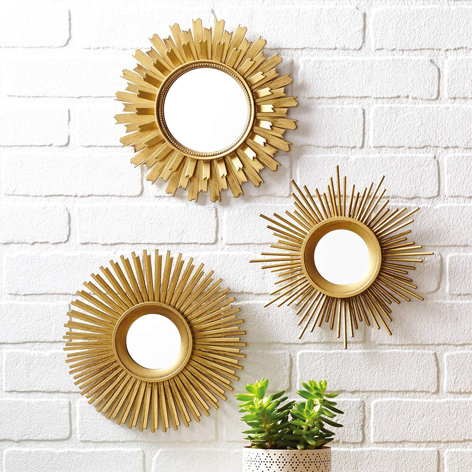 Set Of 3 Wall Mirrors For Fashionable Amazon: 3 Piece Sunburst Wall Mirror Set, Multiple (Gallery 8 of 20)