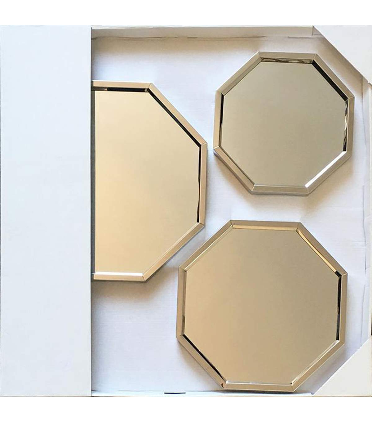 Set Of 3 Wall Mirrors Regarding Popular Octagon Wall Mirrors With Steel Frame 3 Pk (View 16 of 20)