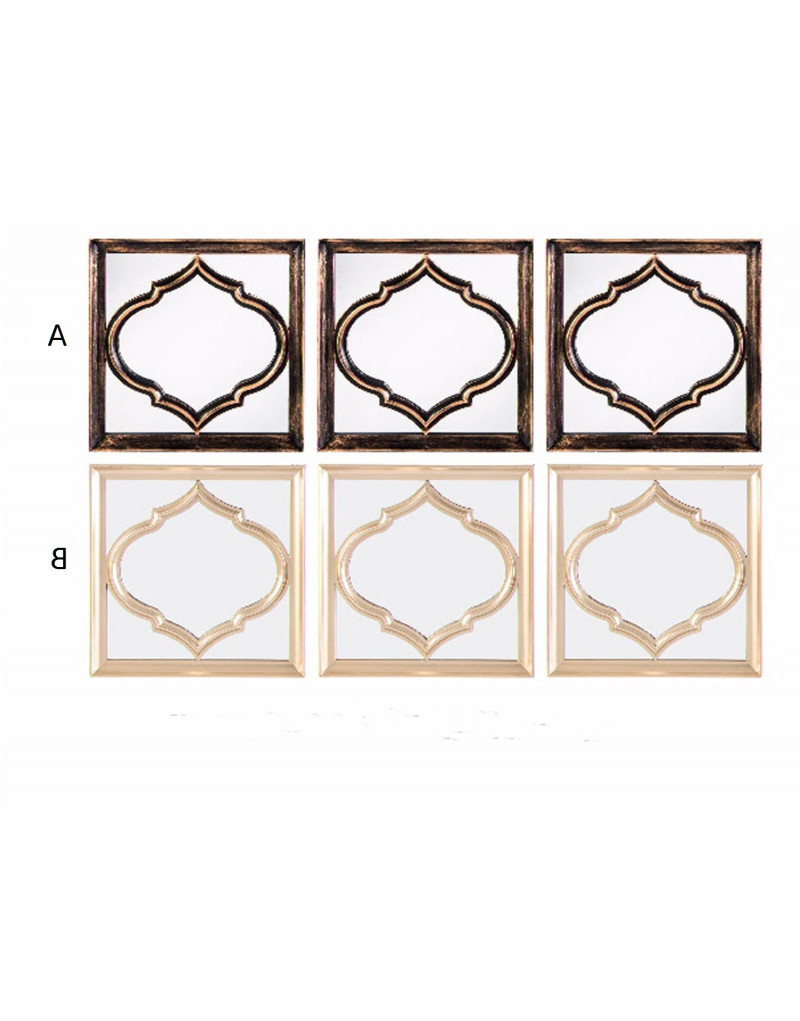 Set Of 3 Wall Mirrors Style Ethnic Intended For Trendy Ethnic Wall Mirrors (View 19 of 20)