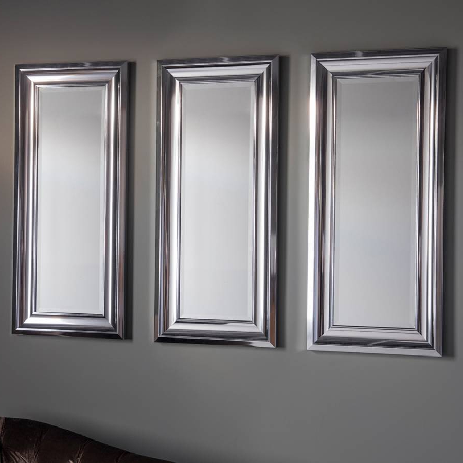 Set Of 3 Wall Mirrors Within 2020 Silver Bowen Set Of 3 Wall Mirrors 91X40Cm (View 4 of 20)