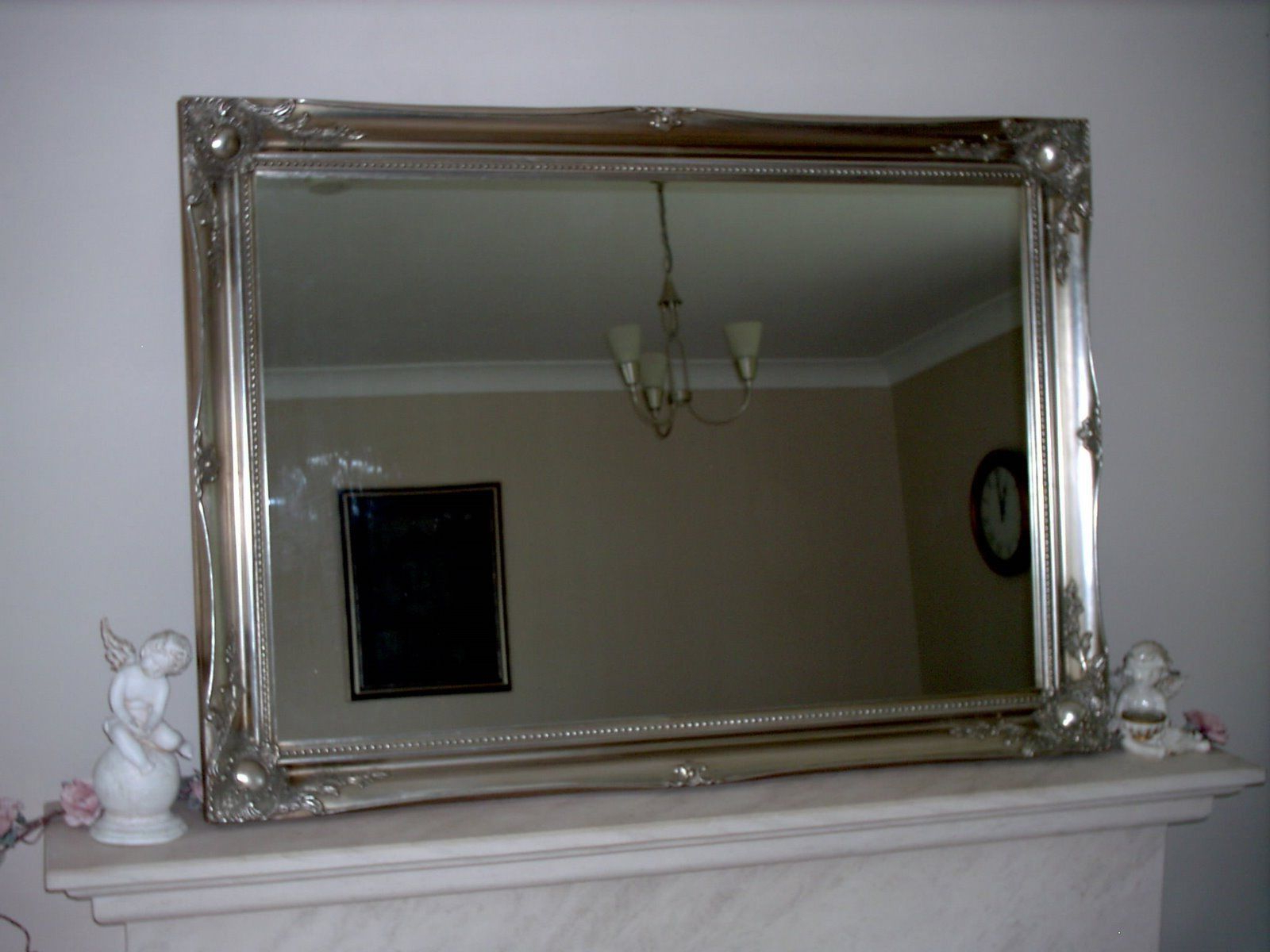 Shabby Chic Wall Mirrors Within Widely Used Antique Silver Ornate Shabby Chic Large Wall Mirror – 24 X (View 18 of 20)