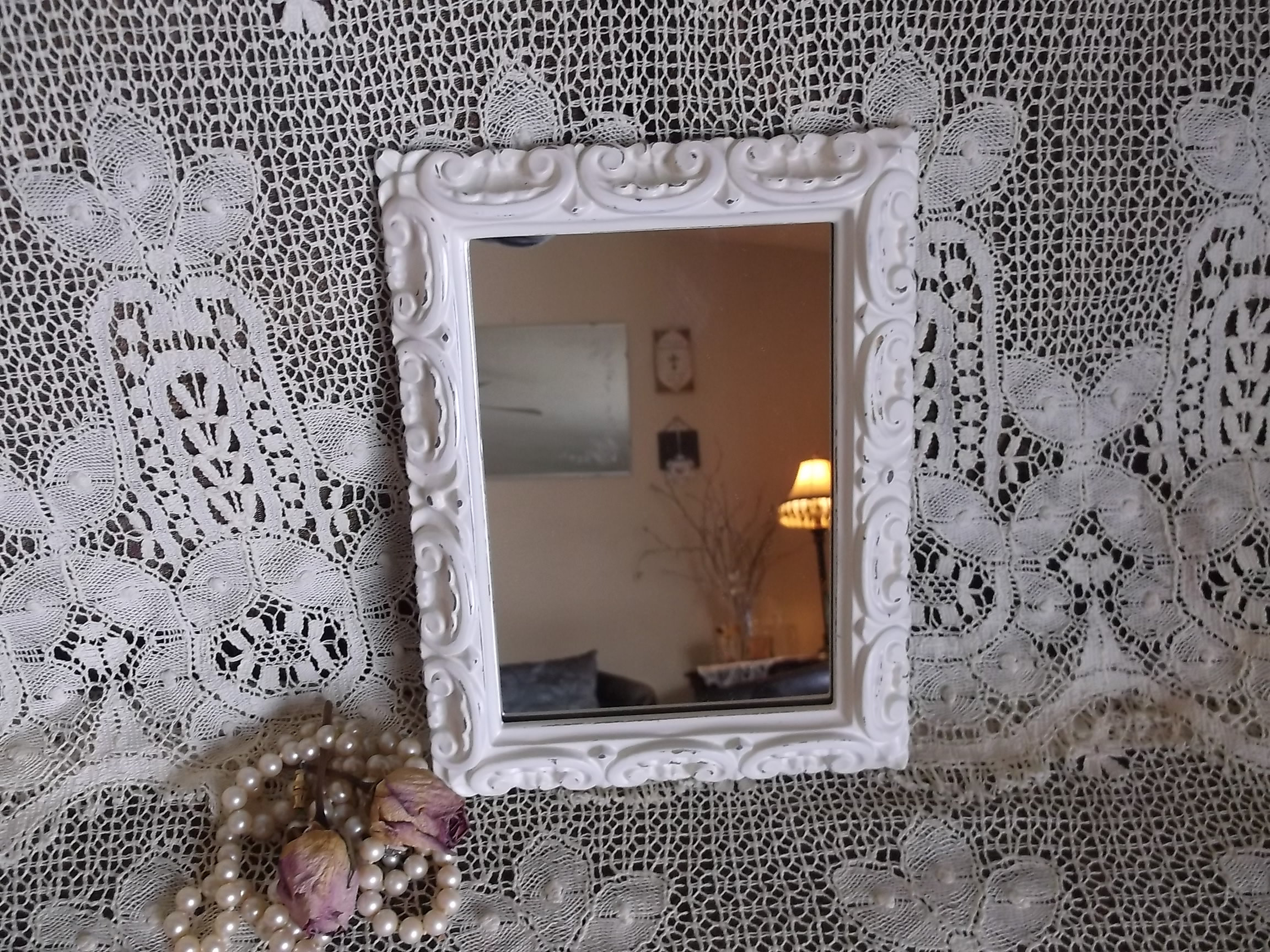 Shabby White Small Wall Mirror, French Country Decor With Regard To 2019 Small White Wall Mirrors (View 20 of 20)