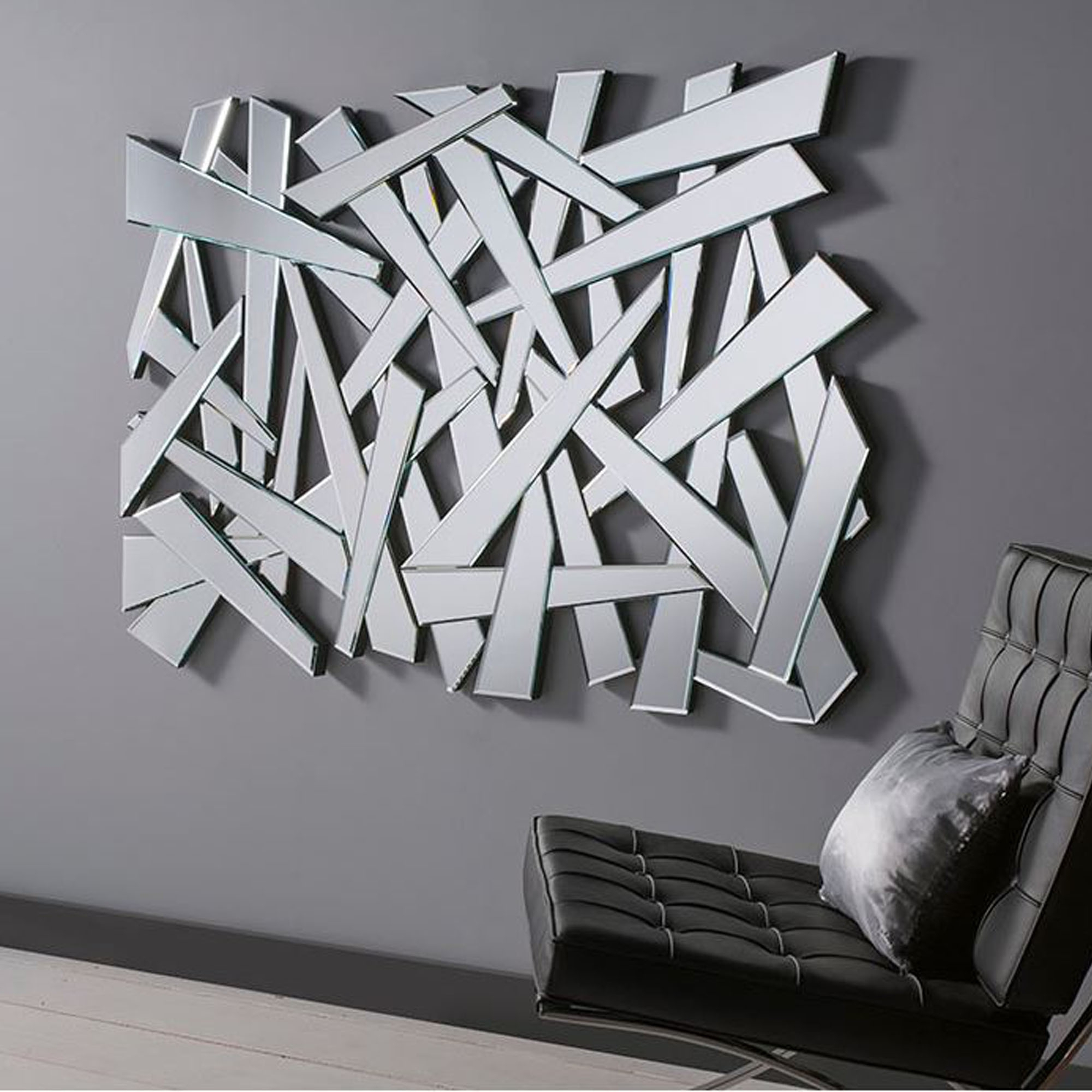 Shattered Effect Contemporary Wall Mirror With Favorite Modern Black Wall Mirrors (Gallery 17 of 20)