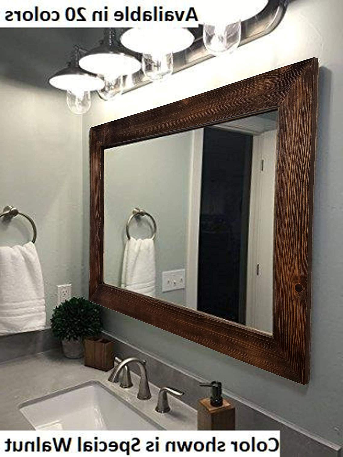 Shiplap Large Wood Framed Mirror Available In 4 Sizes And 20 Colors: Shown  In Special Walnut Stain – Large Wall Mirror – Rustic Barnwood Style – Throughout Fashionable Large Wall Mirrors (View 19 of 20)