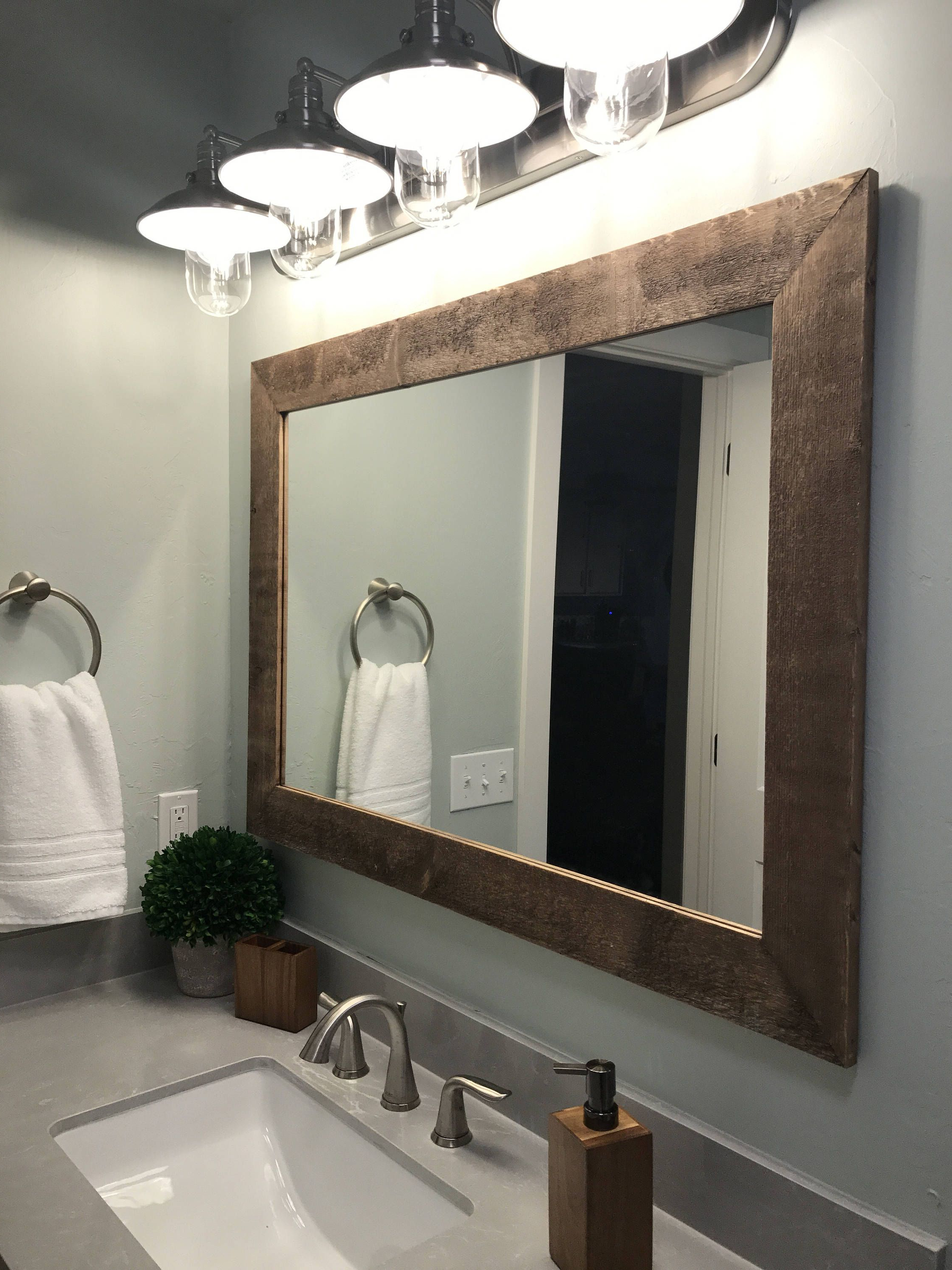 Shiplap Reclaimed Wood Mirror Shown In Special Walnut, 4 Sizes & 20 Throughout Famous Tifton Traditional Beveled Accent Mirrors (View 18 of 20)