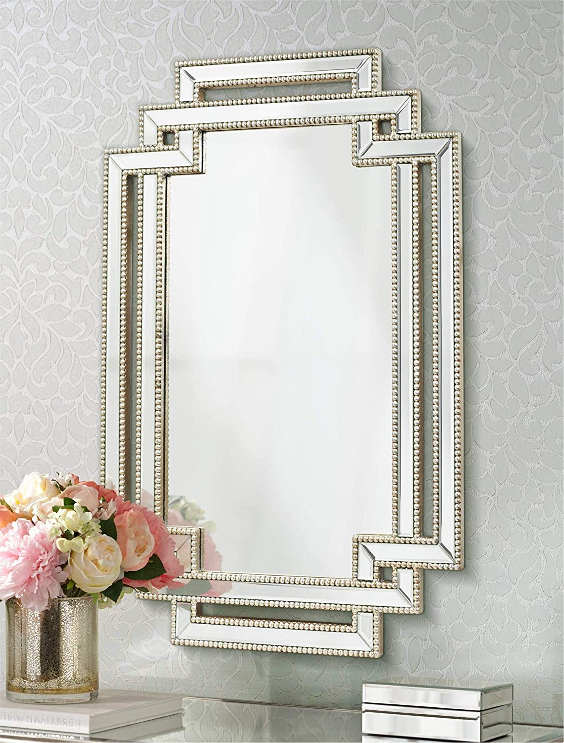 """Silver Beaded Wall Mirrors For Most Popular Possini Euro Design Erte Openwork Silver Beaded 27"""" X 39 1/2"""" Wall Mirror (Gallery 12 of 20)"""