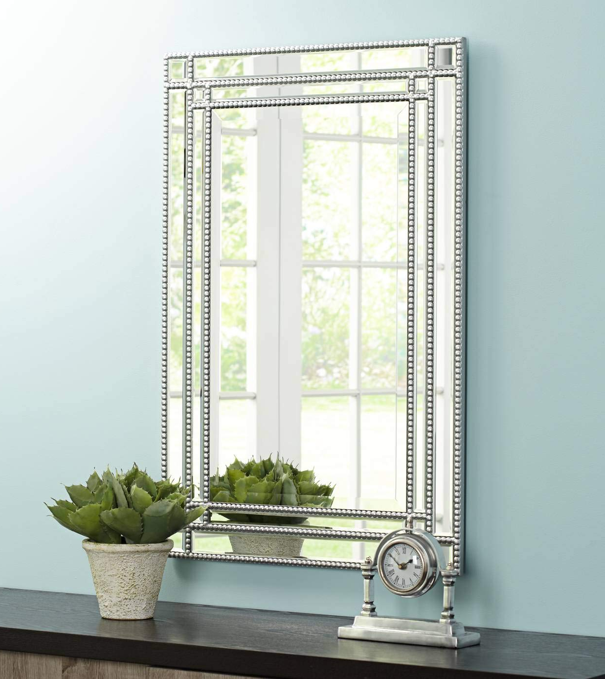 "Silver Beaded Wall Mirrors Intended For Current Noble Park Ravalli Silver Beaded 23"" X 34 1/4"" Wall Mirror (View 11 of 20)"