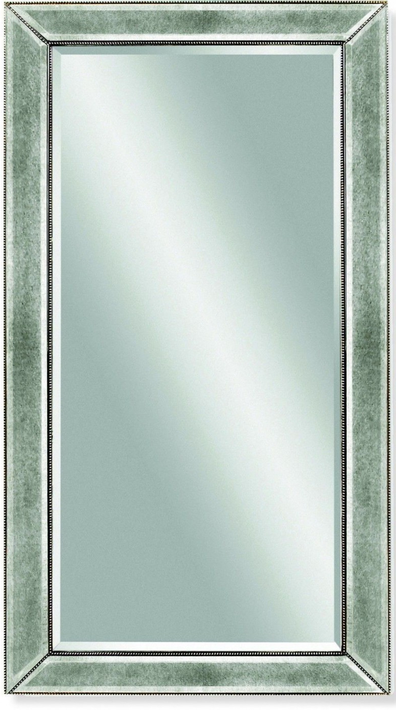 Silver Beaded Wall Mirrors Pertaining To Widely Used Beaded Silver Leaf Wood Frame Wall Mirror (View 14 of 20)