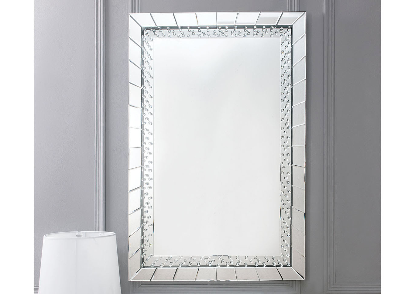 Silver Frame Accent Mirrors In Most Recently Released Just Furniture Nysa Mirror Tile Frame Accent Mirror (View 8 of 20)