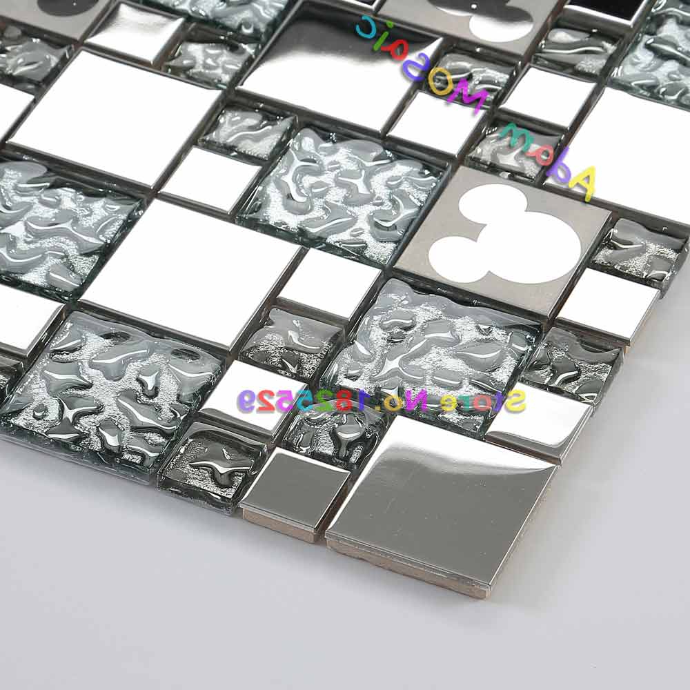 Silver Glass Mosaic Tiles Mickey Mouse Mirror Kitchen Backsplash Tile  Shower Wall Fireplasce Materials On Aliexpress (View 15 of 20)