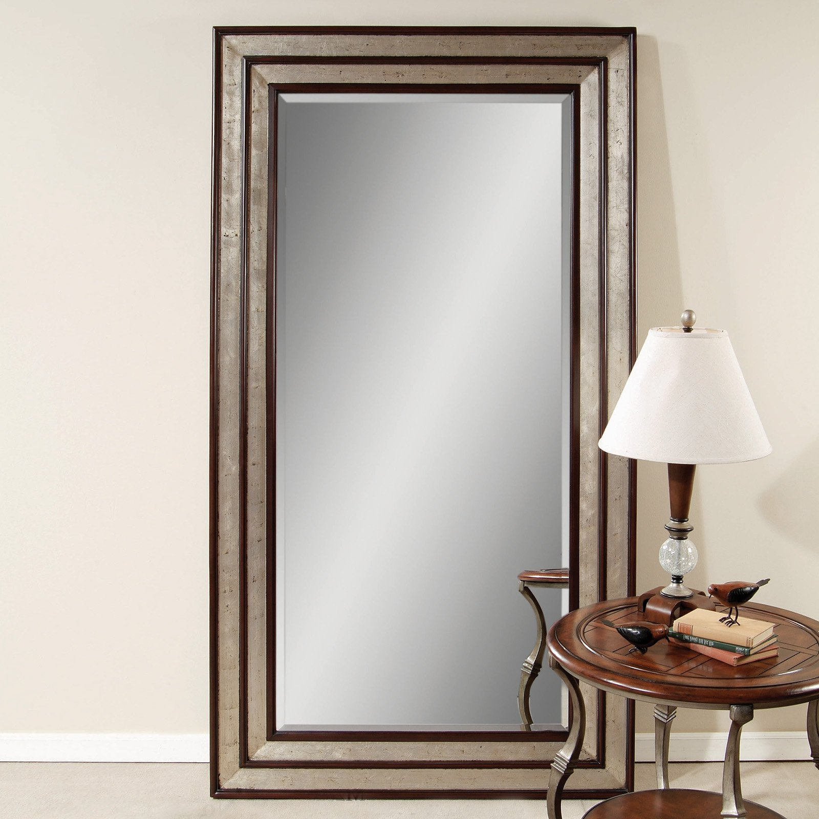 Silver Leaf Black Accent Floor Leaner Mirror W X H Fall Leaves Clip With Regard To 2020 Silver Frame Accent Mirrors (View 9 of 20)
