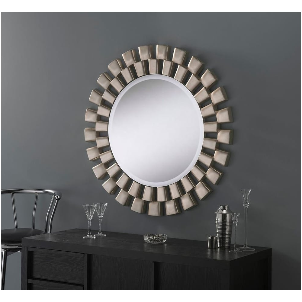 Silver Leaf Wall Mirrors Throughout Best And Newest Round Contemporary Silver Leaf Wall Mirror (View 14 of 20)