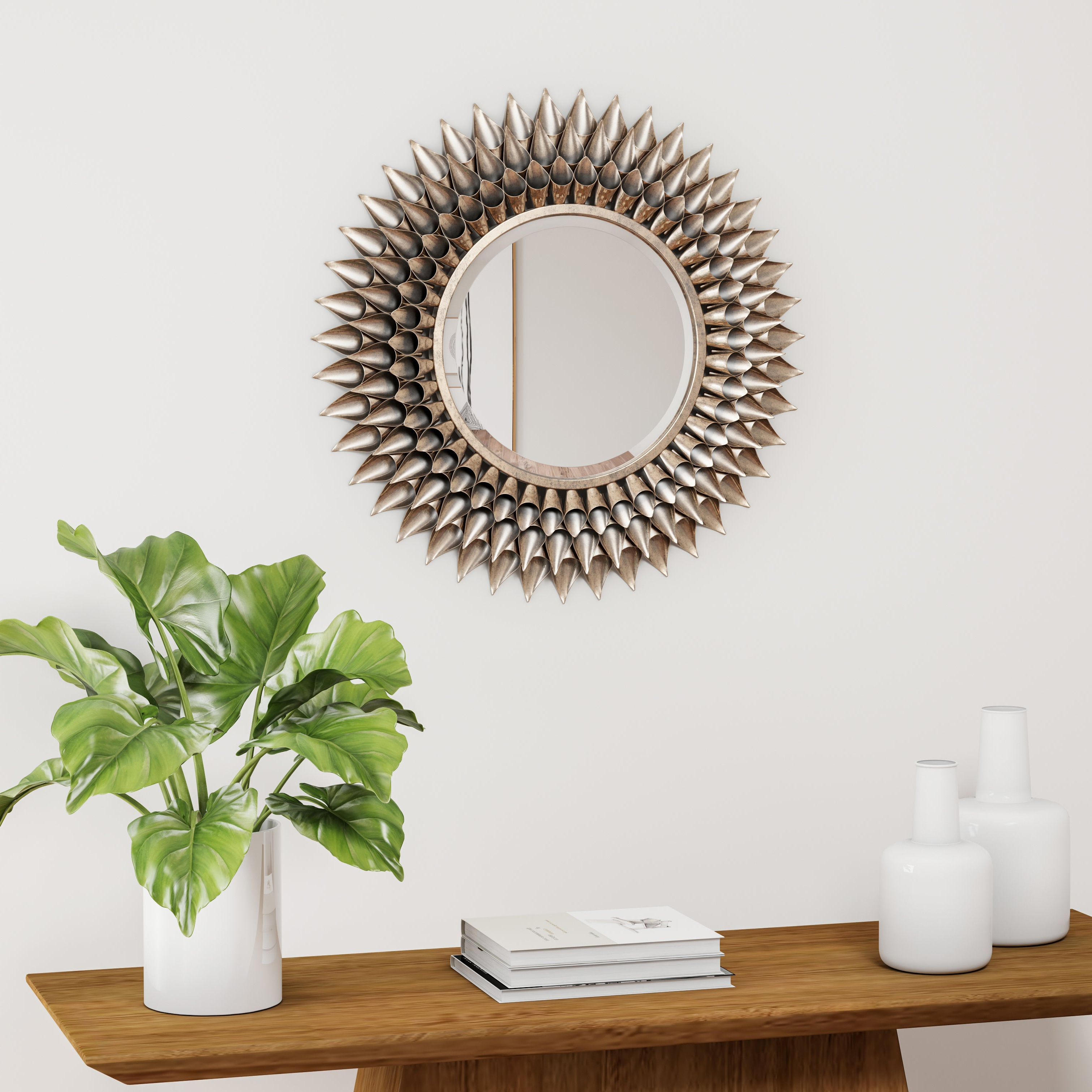 Silver Orchid Brian Round Decorative Wall Mirror – Weathered Silver With Regard To Recent Round Decorative Wall Mirrors (View 19 of 20)
