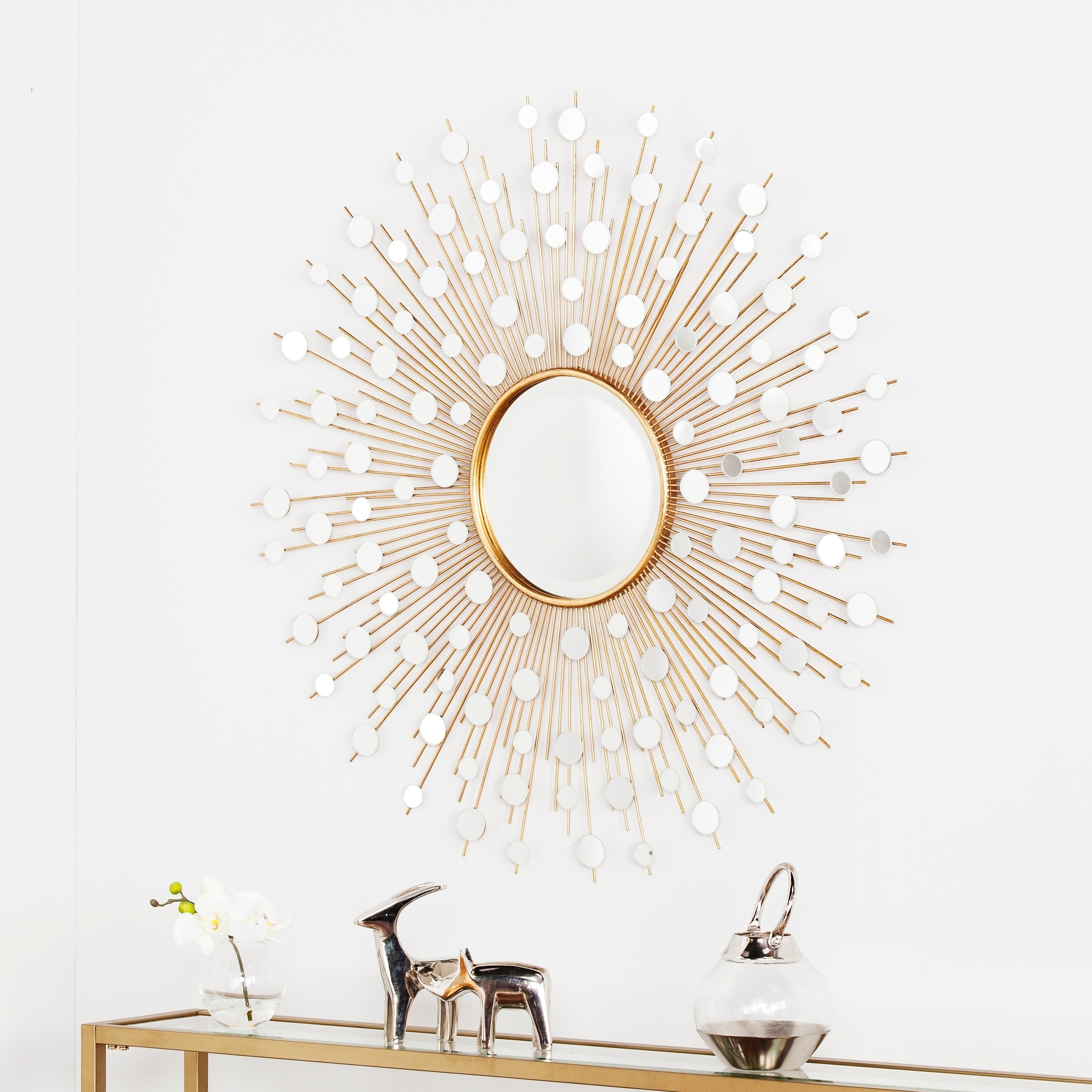 Silver Orchid Grant Glam Starburst Wall Mirror In Gold (Gallery 3 of 20)