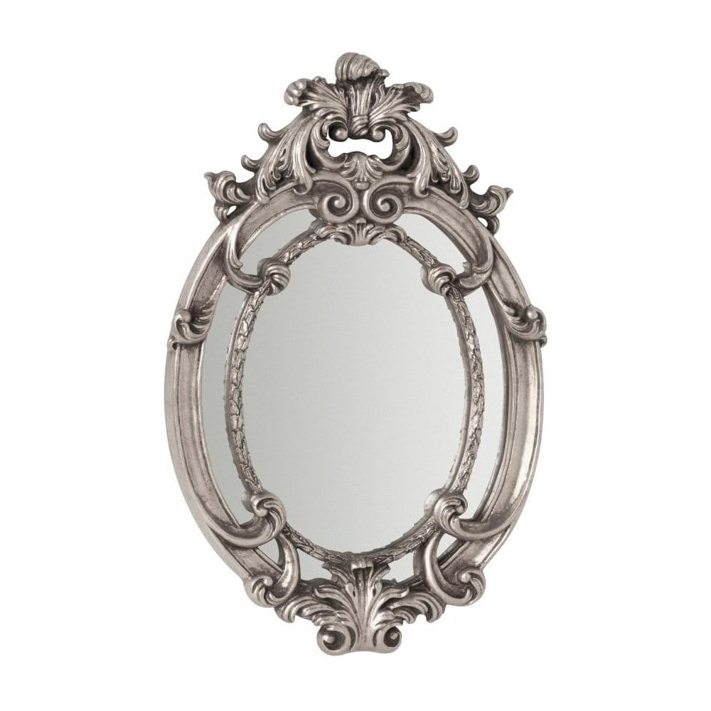 Silver Oval Wall Mirrors Pertaining To Well Liked Oval Vintage Style Silver Wall Mirror (View 17 of 20)