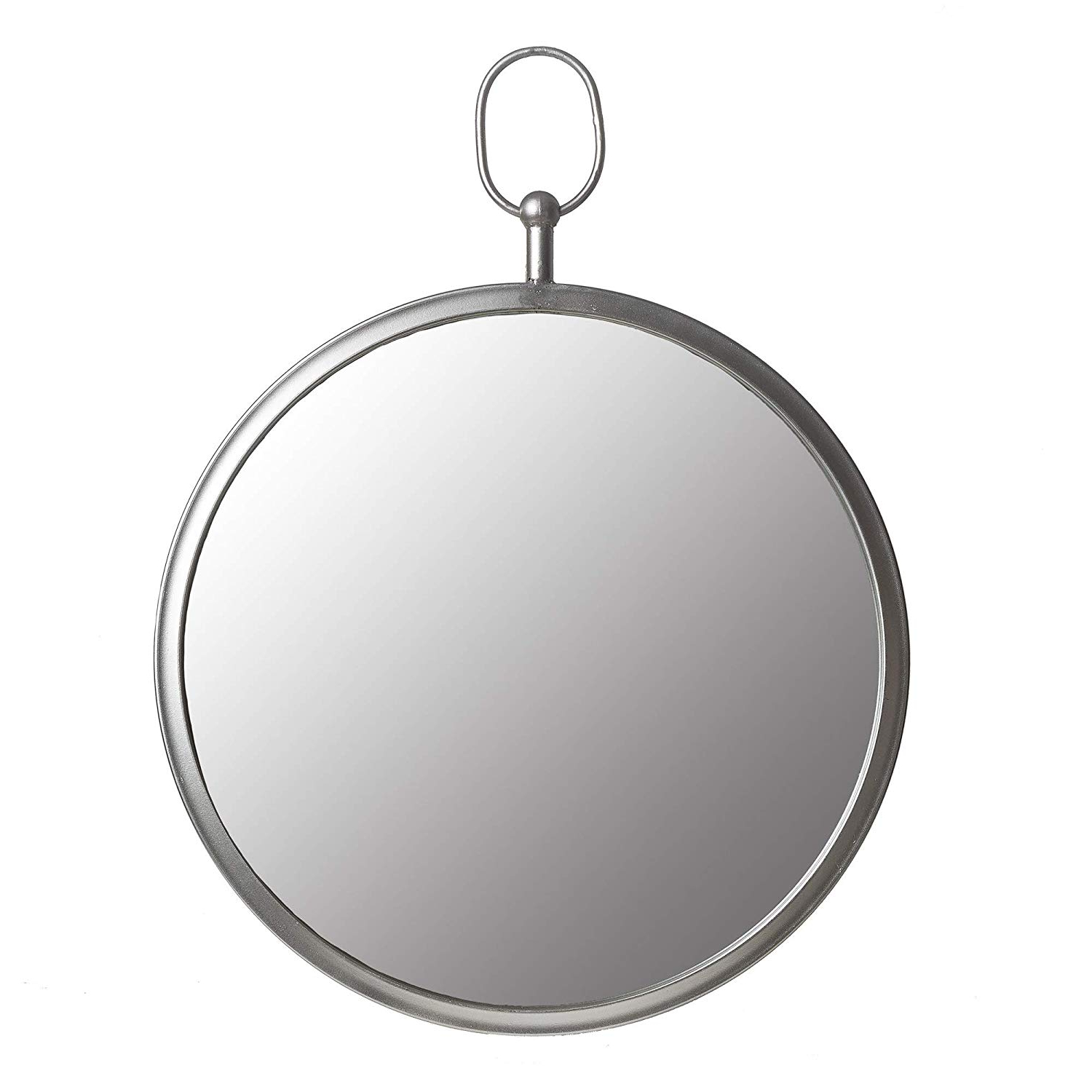 Silver Round Wall Mirrors With Regard To Most Recent Amazon: Silver Round Wall Mirror With Decorative Handle: Home (View 13 of 20)