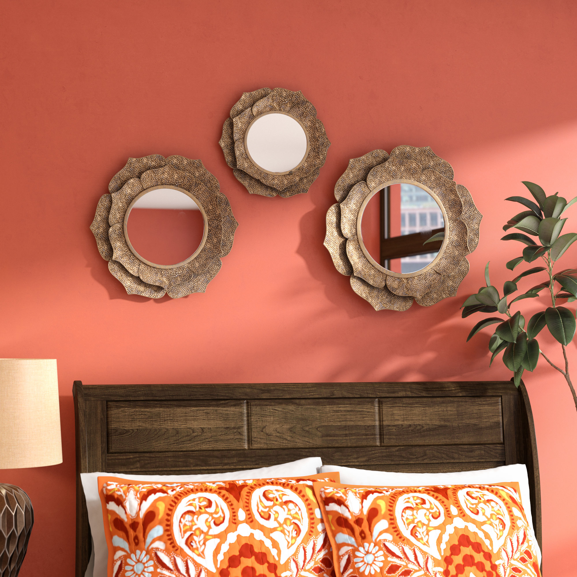Skiba Metal 3 Piece Wandering Wall Mirror Set Regarding Preferred Orange Wall Mirrors (View 20 of 20)