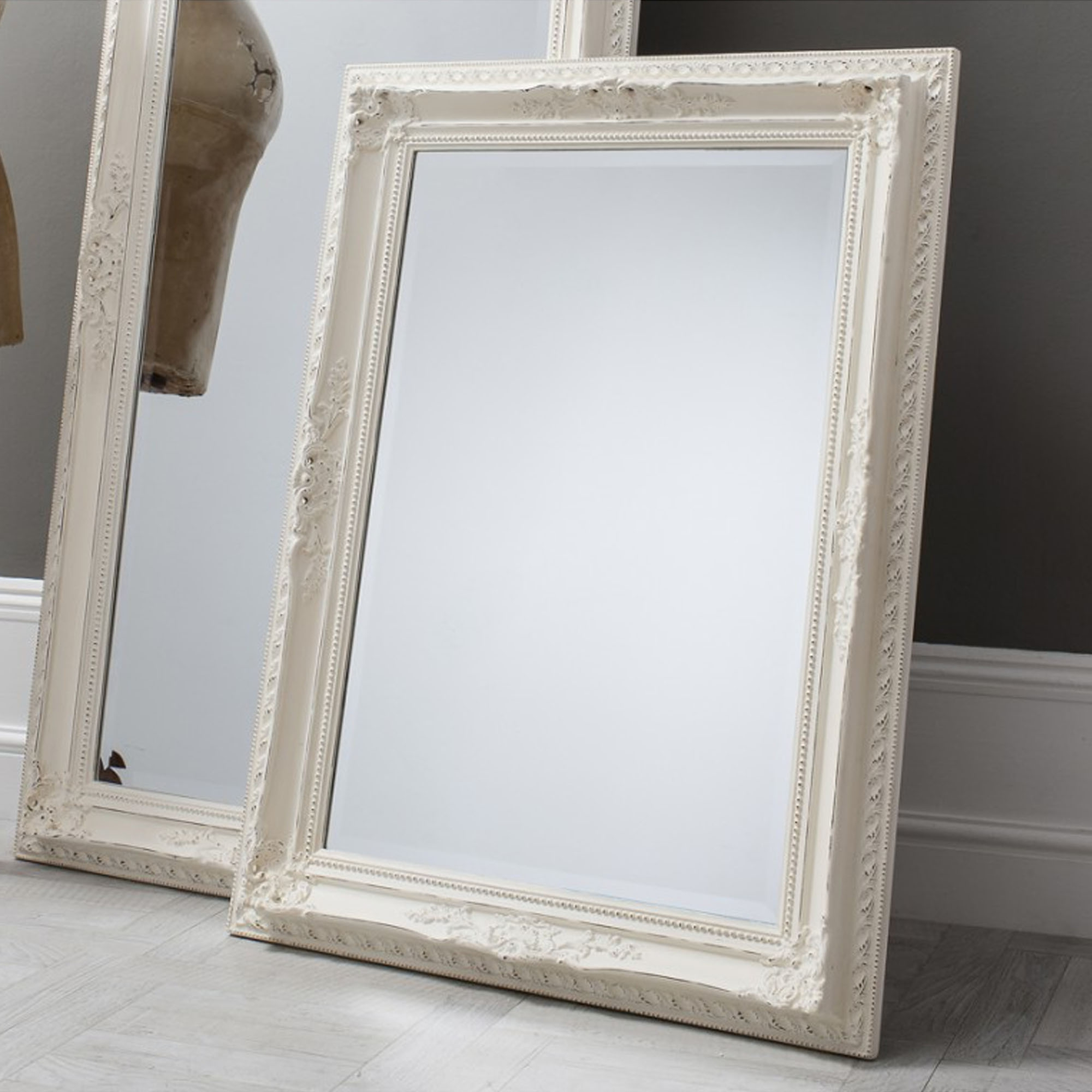 Small Antique French Style White Buckingham Wall Mirror Throughout Current Small Antique Wall Mirrors (View 9 of 20)