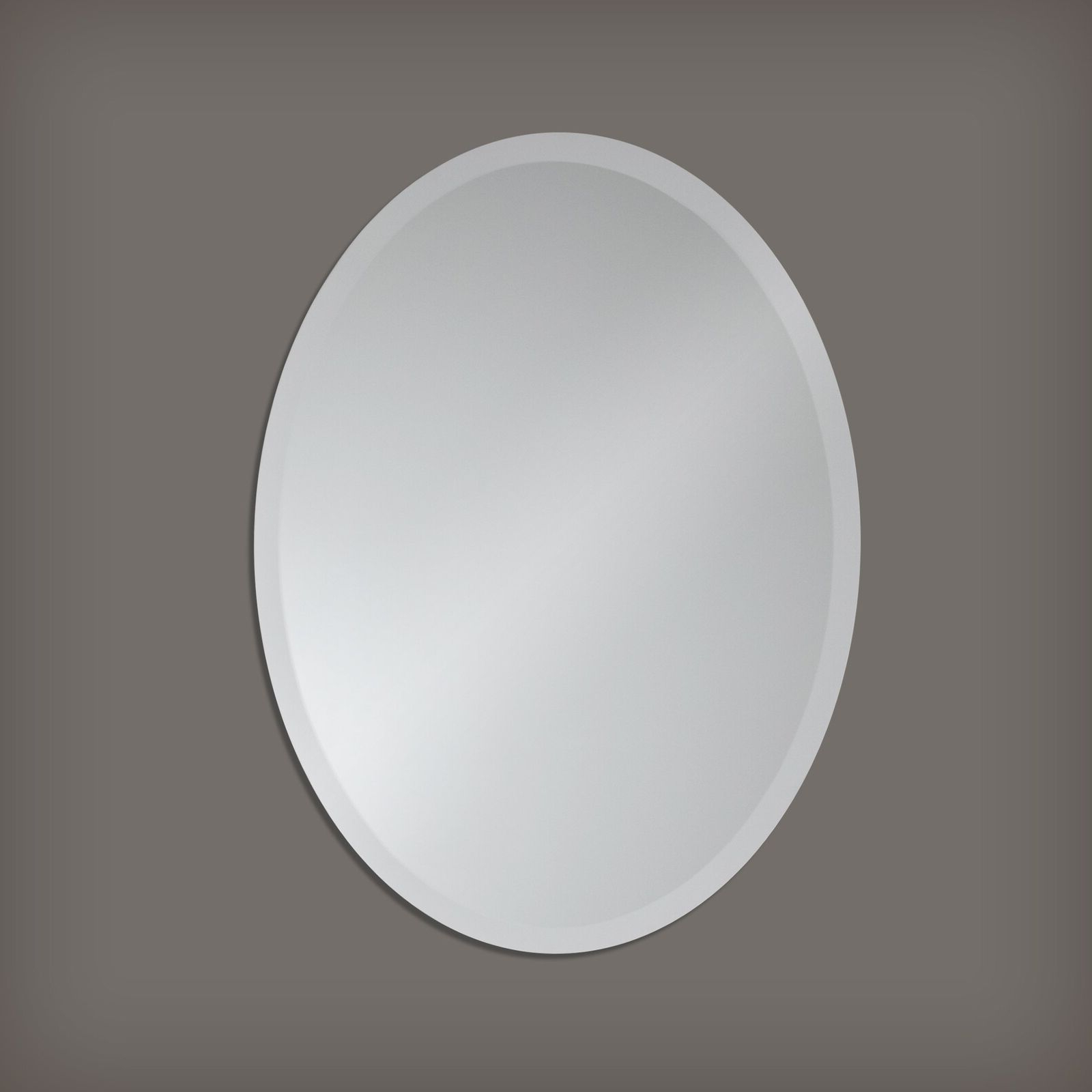 Small Frameless Beveled Oval Wall Mirror Bathroom, Vanity, Pertaining To Current Thornbury Oval Bevel Frameless Wall Mirrors (View 11 of 20)
