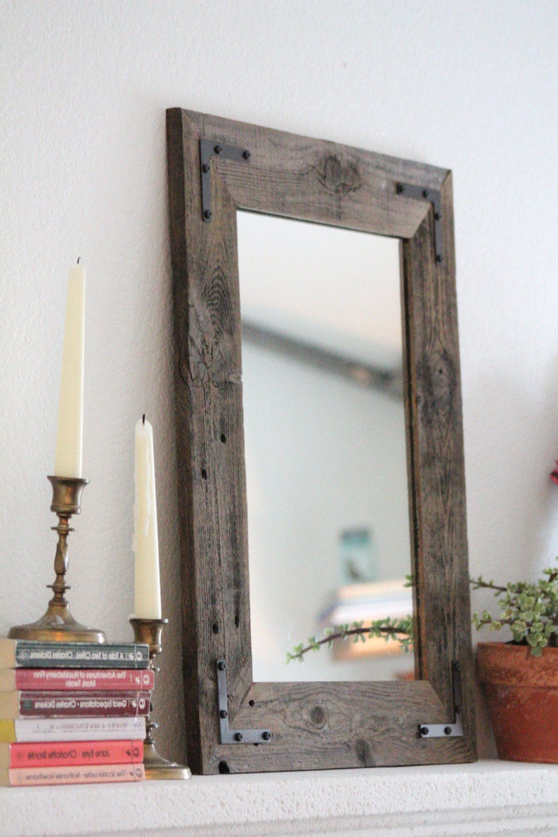 Small Mirror, Small Wood Framed Mirror, Wall Mirror, Reclaimed Wood Framed  Mirror, Bathroom Mirror, Rustic Wood Mirror, Rustic Home Decor For Famous Wood Wall Mirrors (View 13 of 20)