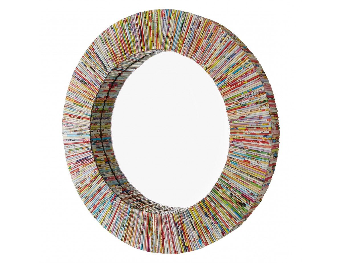 Small Round Wall Mirrors In Fashionable Cohen D50cm Multi Coloured Recycled Magazine Small Round Wall Mirror (View 18 of 20)