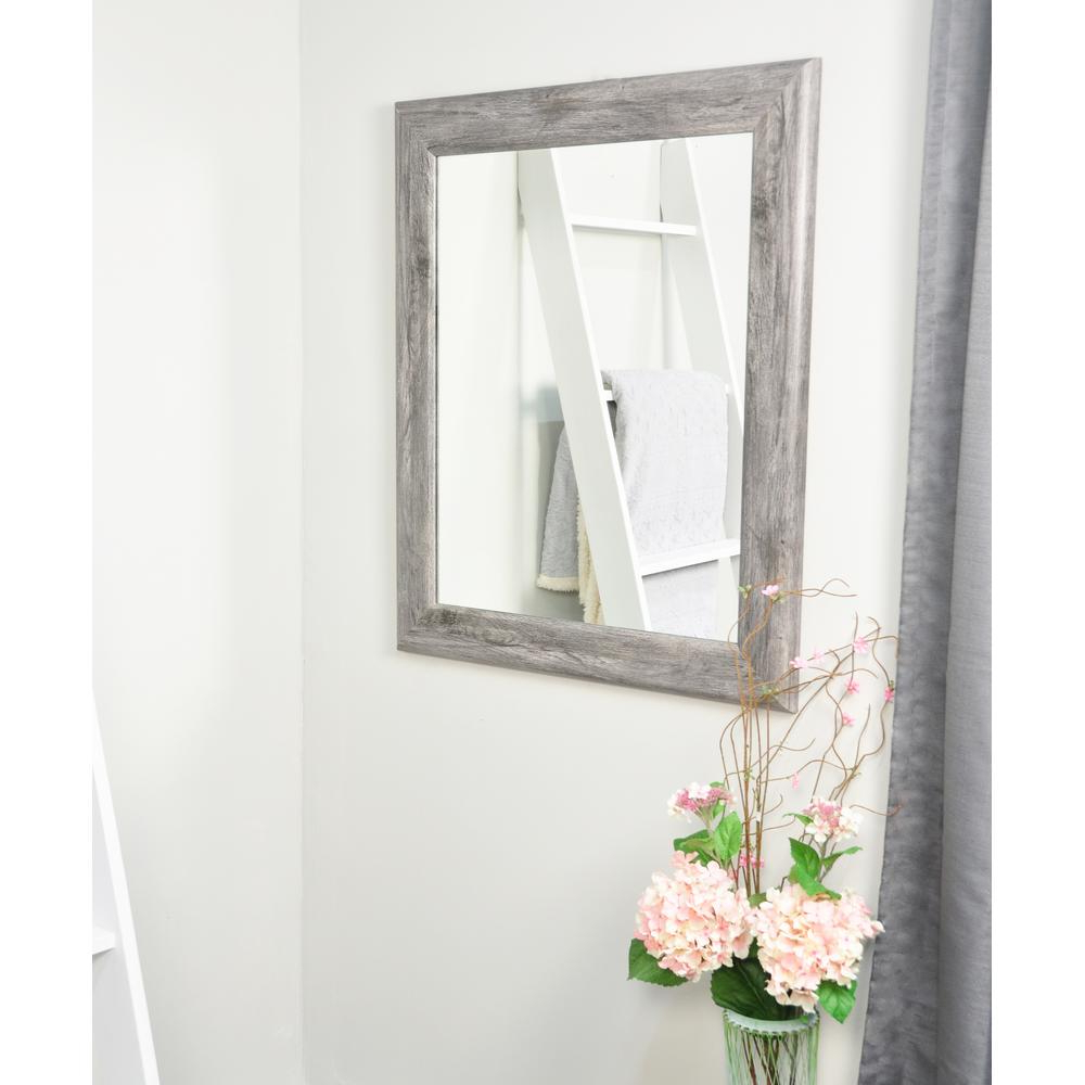Smooth Rectangle Gray Barnwood Decorative Wall Mirror Inside Well Liked Grey Wall Mirrors (View 15 of 20)