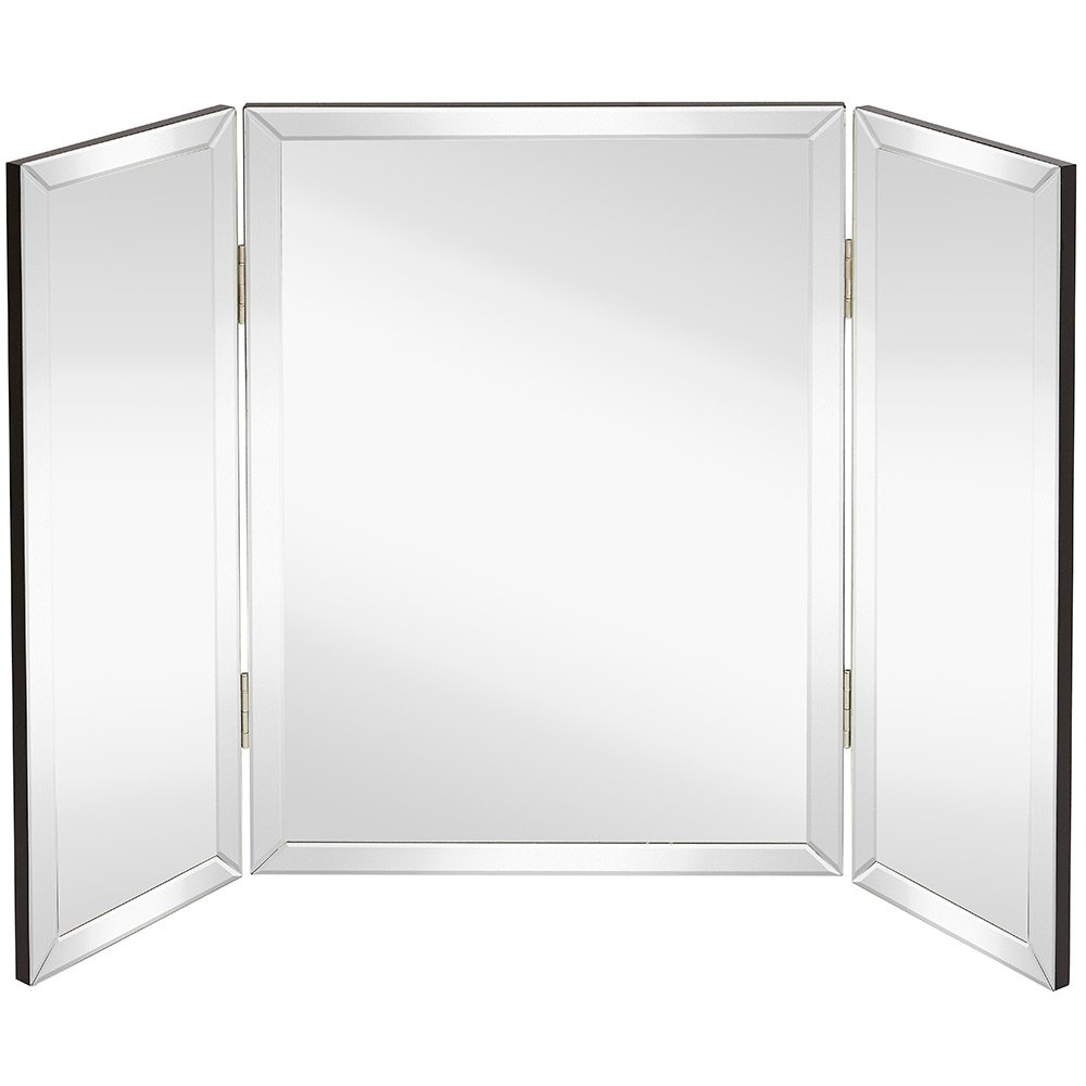 Solid Hinged Sided Tri Fold Beveled Mirrored Edges (View 8 of 20)