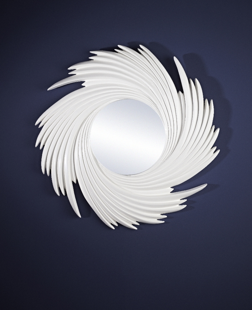 Solis Twister Round Framed White Wall Mirrordeknudt Mirrors With Regard To Well Known Round White Wall Mirrors (View 9 of 20)