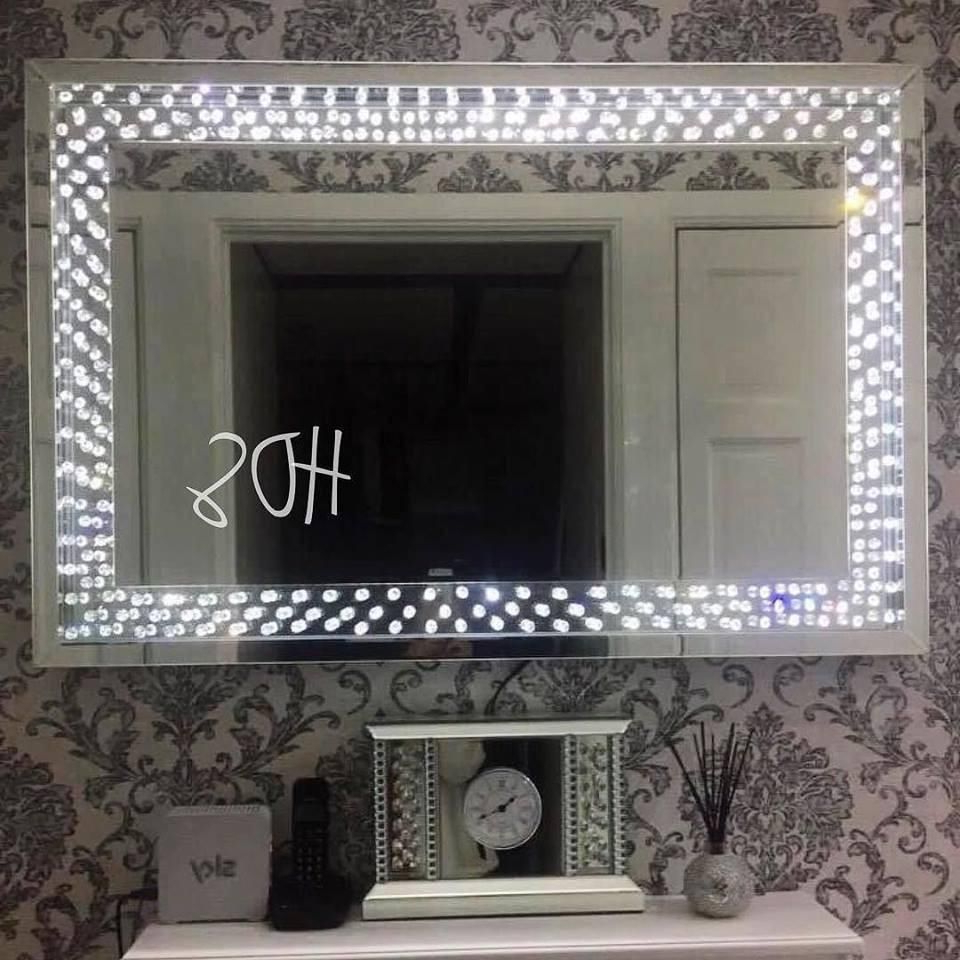 Sparkle Wall Mirrors Within Recent Floating Crystal Led Wall Mirror In 2019 (Gallery 2 of 20)