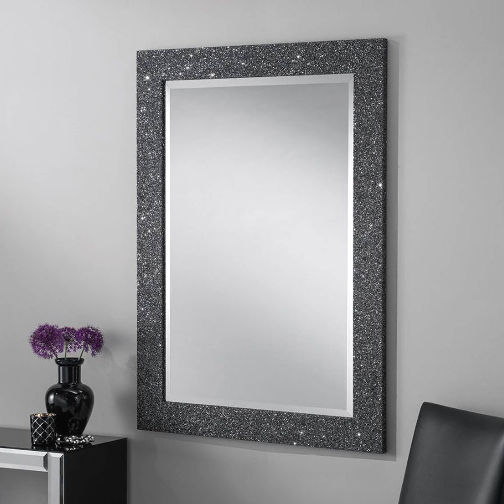 Sparkle Wall Mirrors Within Well Known Grey Glitter Rectangular Wall Mirror (View 6 of 20)