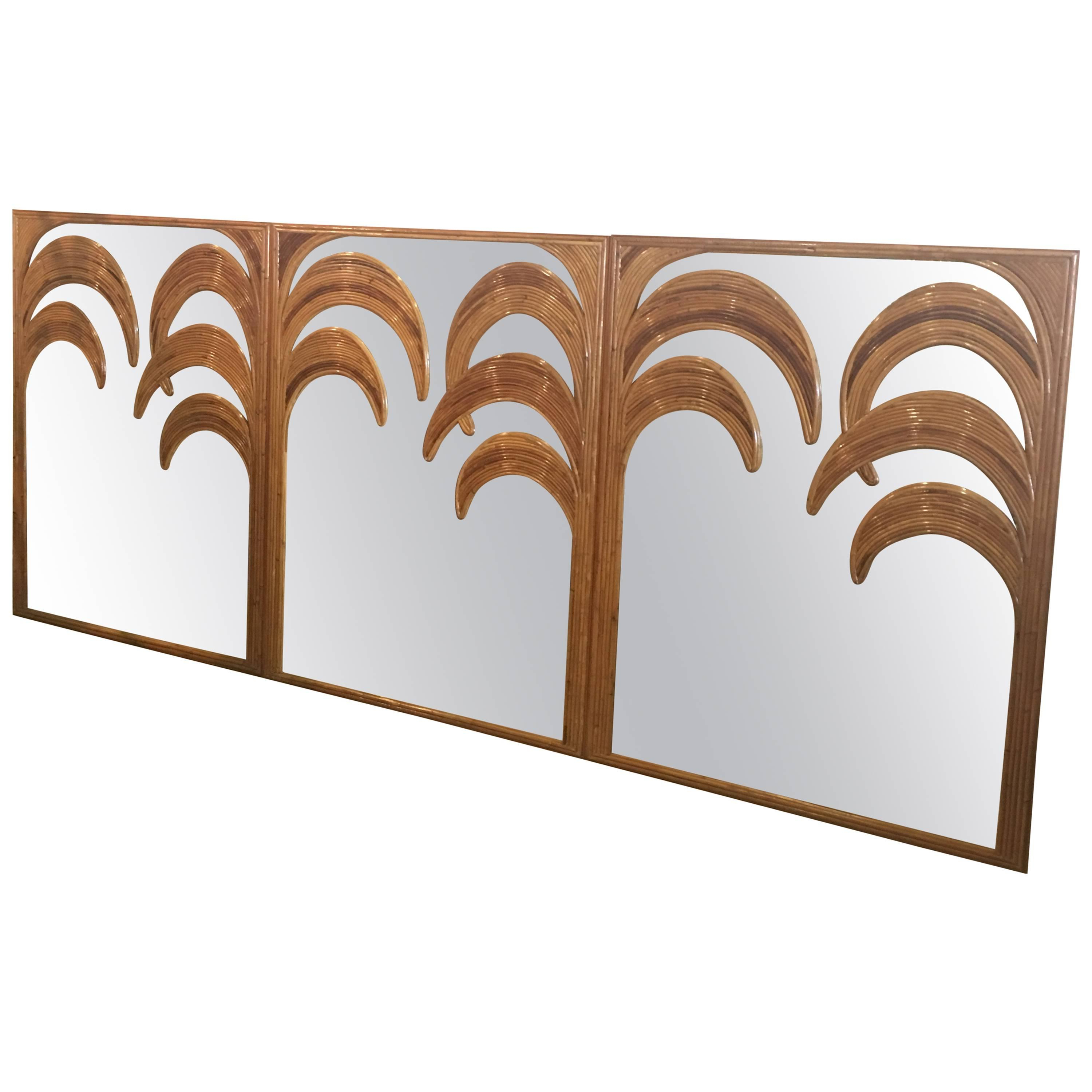 Split Reed Bamboo Wall Mirrors, Set Of Three Tropical Leaf Palm Tree Frond Regarding Popular Tropical Wall Mirrors (View 14 of 20)