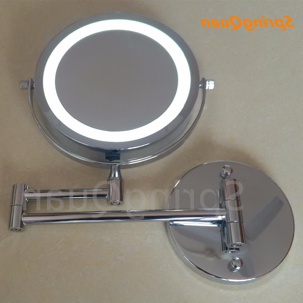 Springquan 7 Inch Metal Fashion Makeup Mirror Battery Led Bathroom Wall Mirror 10x Magnify All Round Cosmetic 2 Face For Trendy Magnifying Wall Mirrors (View 19 of 20)