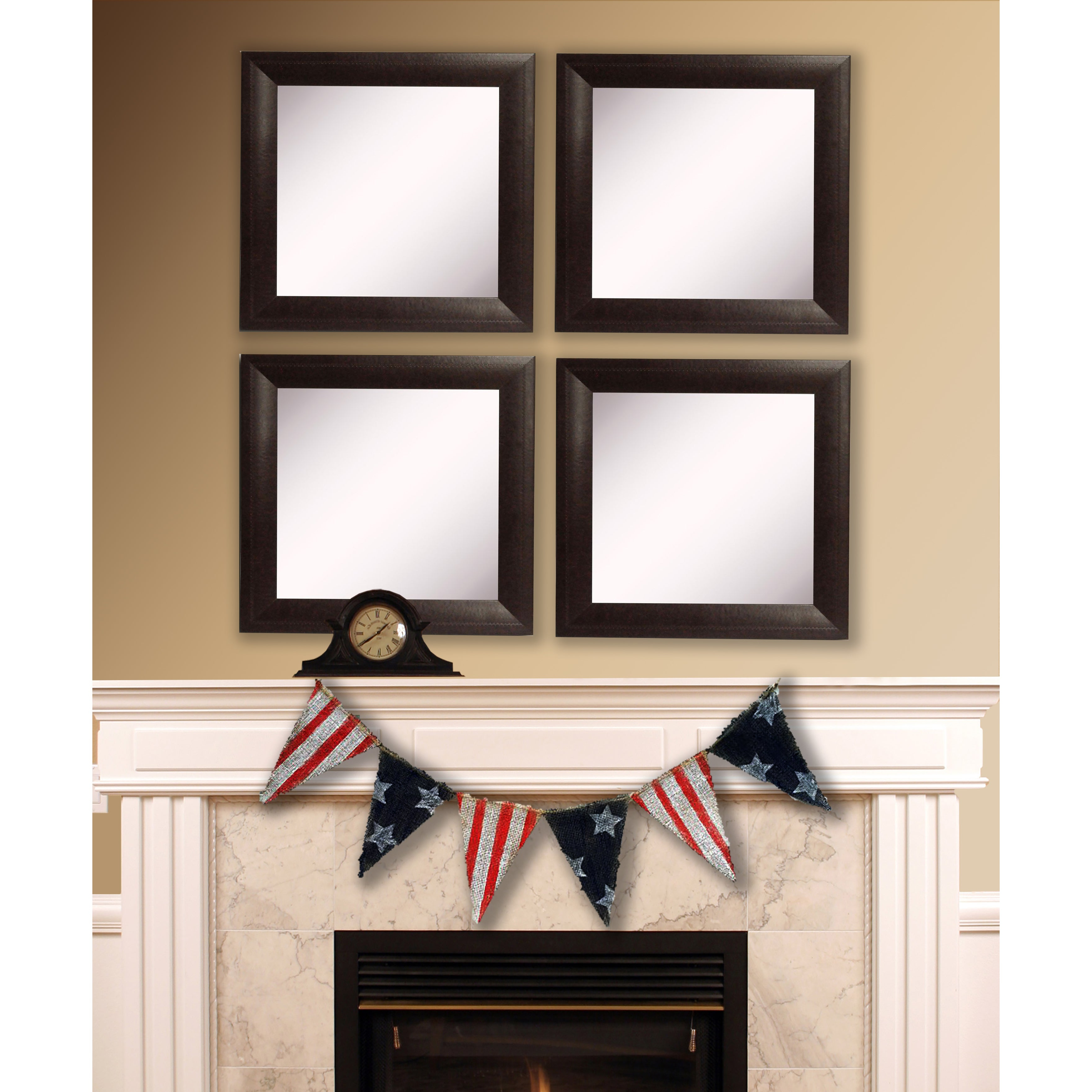 Square Wall Mirror Sets Inside Best And Newest American Made Rayne Espresso Leather Square Wall Mirror Set (View 13 of 20)