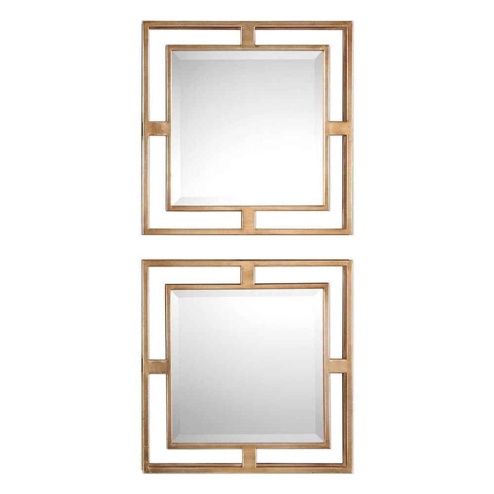 Square Wall Mirror Sets Throughout Fashionable Small Square Framed Mirrors – Set Of 2 (Gallery 7 of 20)
