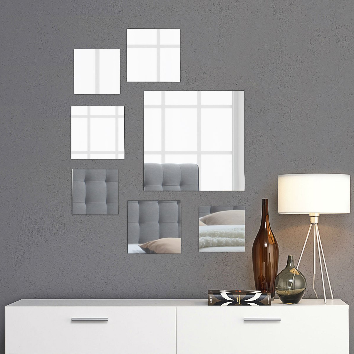 "Square Wall Mirror Sets Within Well Known Light In The Dark Medium Square Mirror Wall Mounted Assorted Sizes (1X10"",  3X7"", 3X4"") – Set Of 7 Square Glass Mirrors Wall Decoration For Living (Gallery 5 of 20)"
