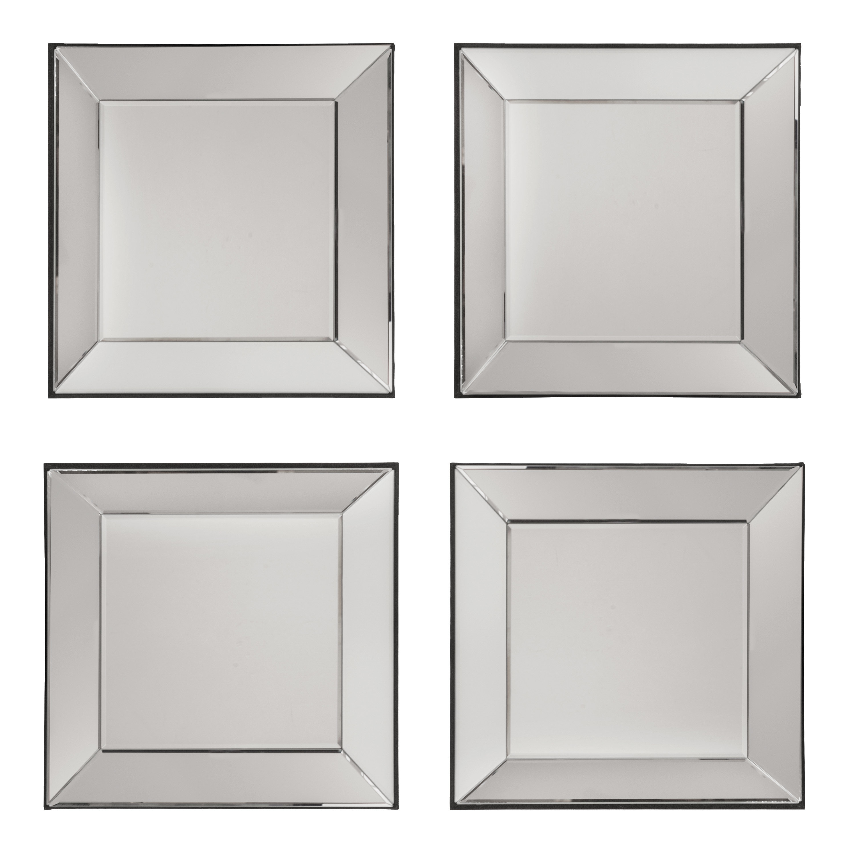 Square Wall Mirrors Inside Current 4 Piece Mart Decorative Square Wall Mirror Set (View 12 of 20)