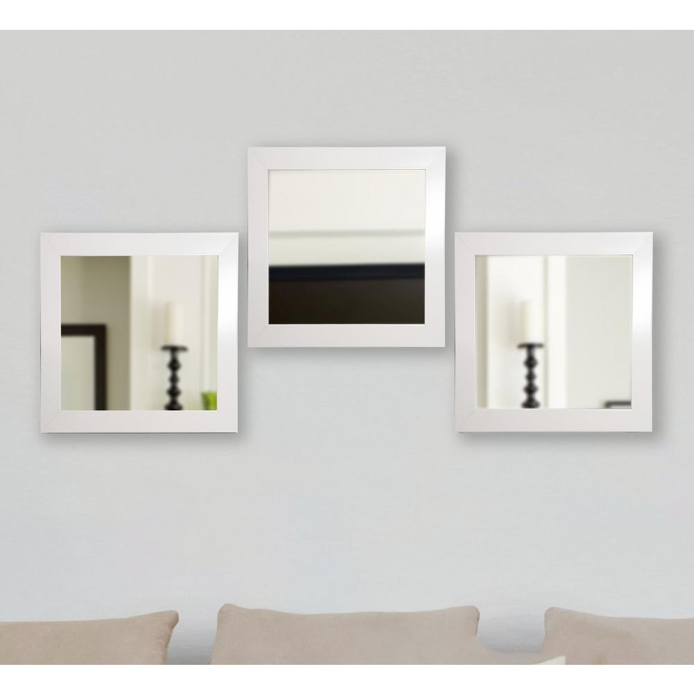 Square Wall Mirrors Intended For Recent 19.5 In. X 19.5 In. Glossy White Square Wall Mirrors (Set Of 3) (Gallery 10 of 20)