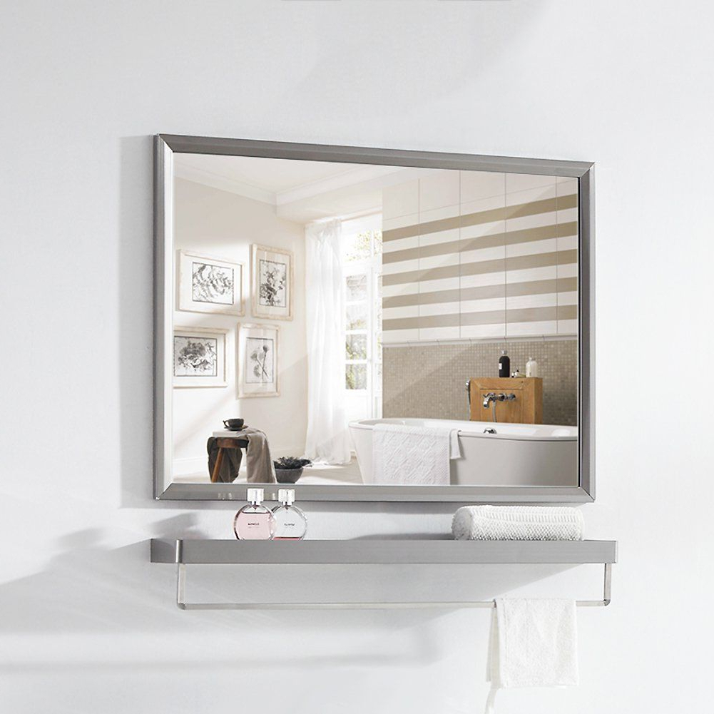 Stainless Steel Bathroom Mirror Frame Wall Mounted Vanity In Favorite Stainless Steel Wall Mirrors (View 3 of 20)