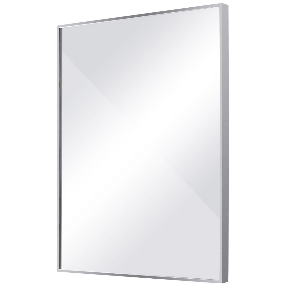 Stainless Steel Frame Floating Glass Rectangular Wall Mirror Within Fashionable Stainless Steel Wall Mirrors (View 8 of 20)