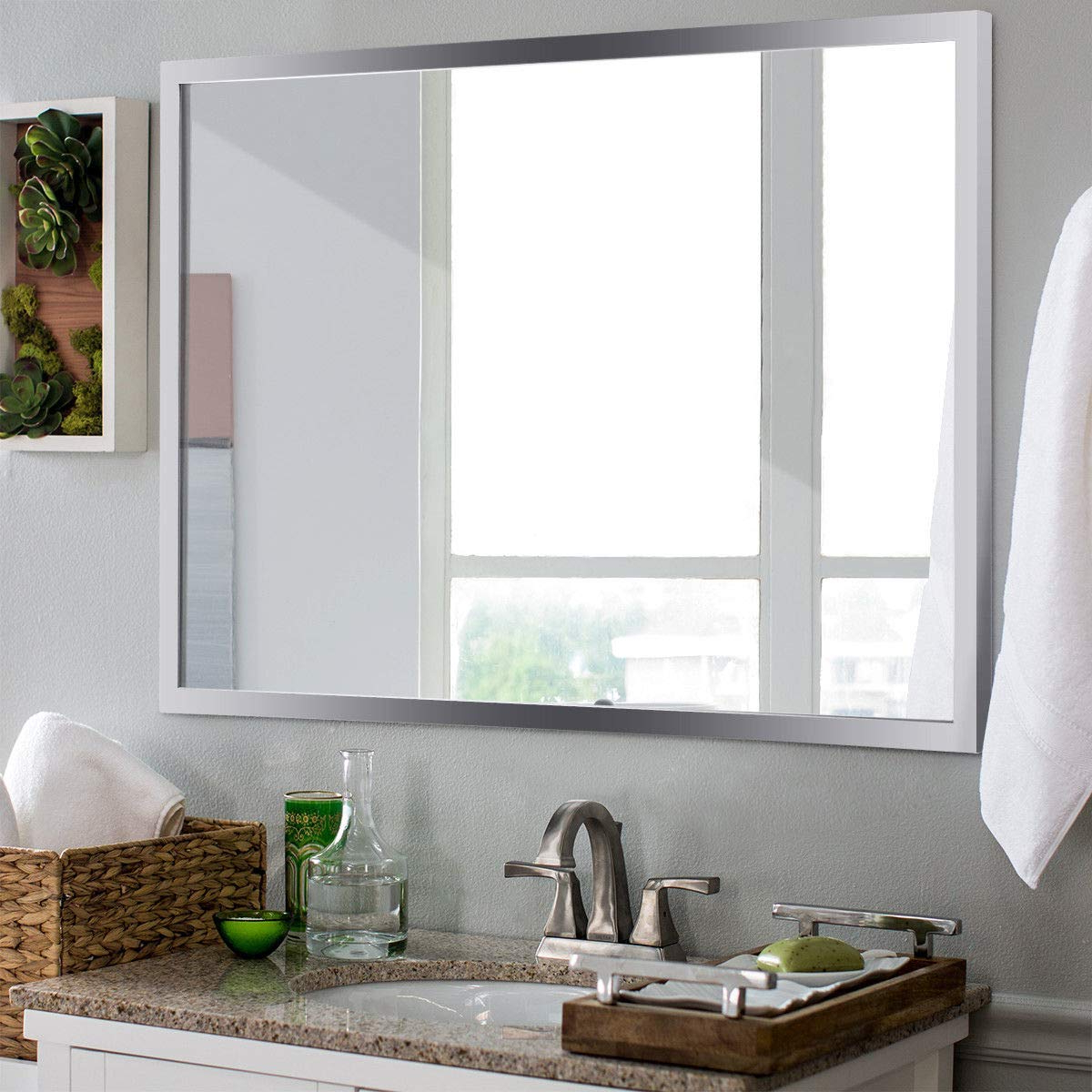 Stainless Steel Wall Mirrors In Well Known Tangkula Wall Mirror Rectangular, Bathroom Simple Modern Stainless Steel Frame Mirror, Aluminum Backed Floating Glass Vanity Bedroom Hangs Horizontal (View 6 of 20)