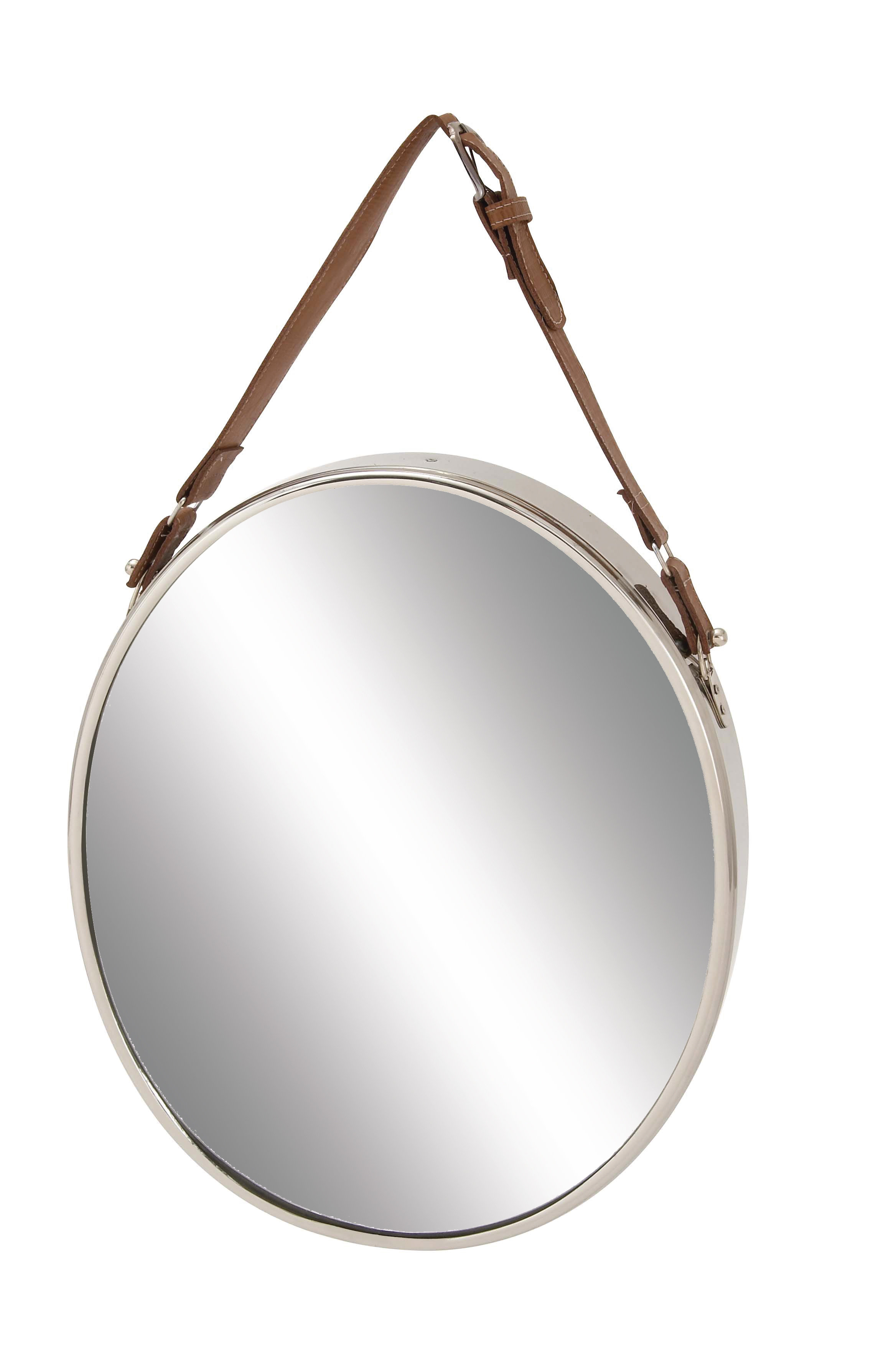 Stainless Steel Wall Mirrors Pertaining To 2020 Sophronia Stainless Steel Leather Wall Mirror (View 15 of 20)