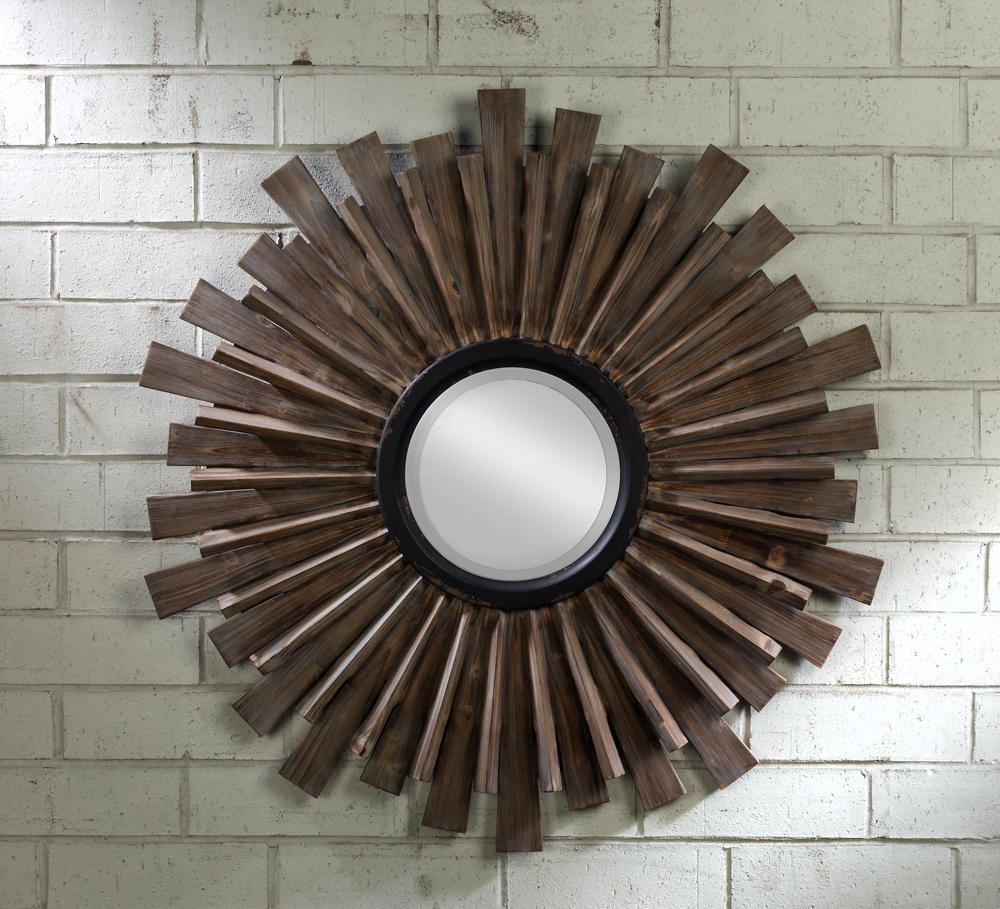Starburst Wall Mirrors In Most Up To Date Starburst Wooden Wall Mirror – Tripar International, Inc. (Gallery 5 of 20)