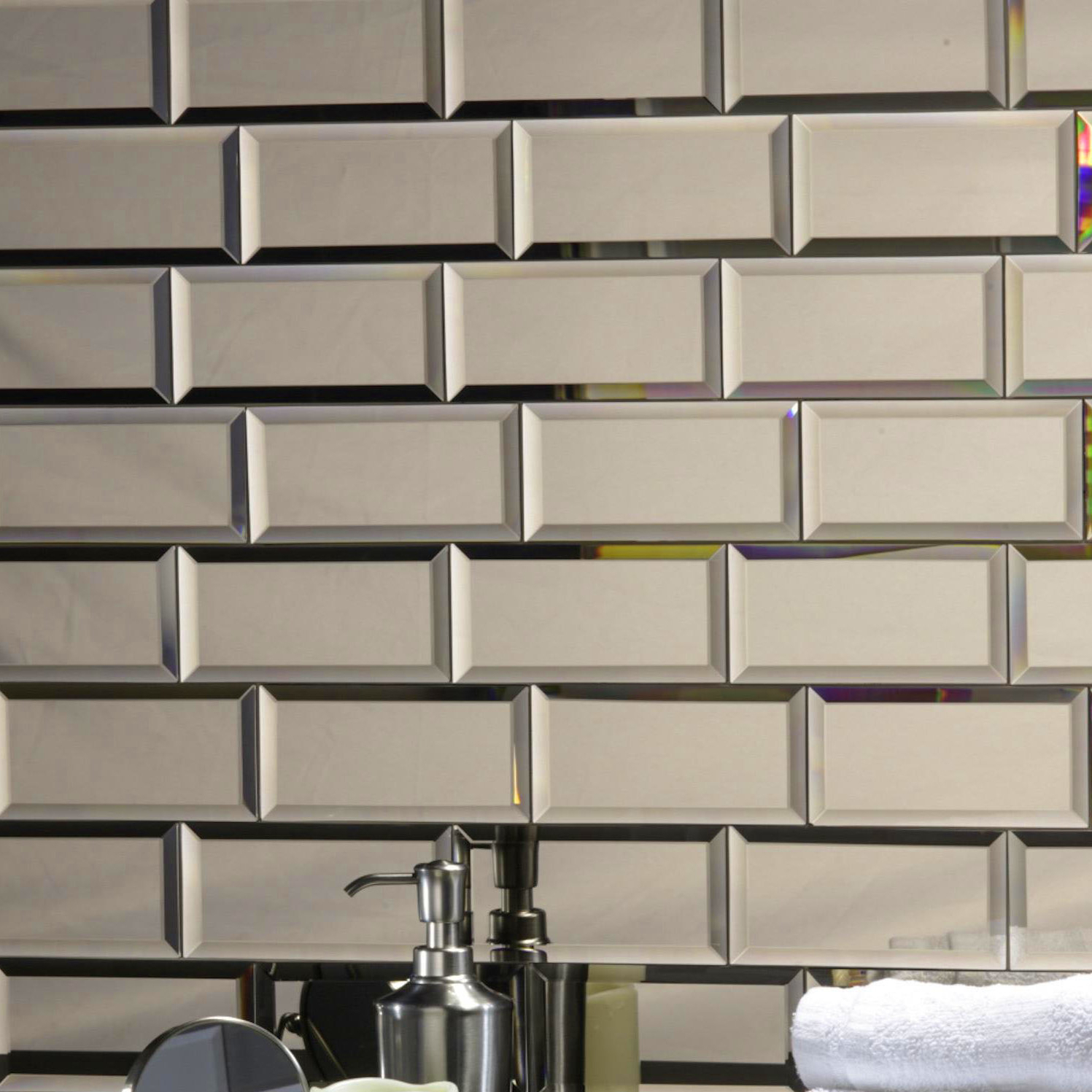 Stick On Wall Mirror Tiles Regarding Trendy Echo Abolos Peel & Stick Beveled 3 X 6 Mirror Glass Handmade Backsplash  Bathroom Subway Wall Tile In Gold (View 17 of 20)