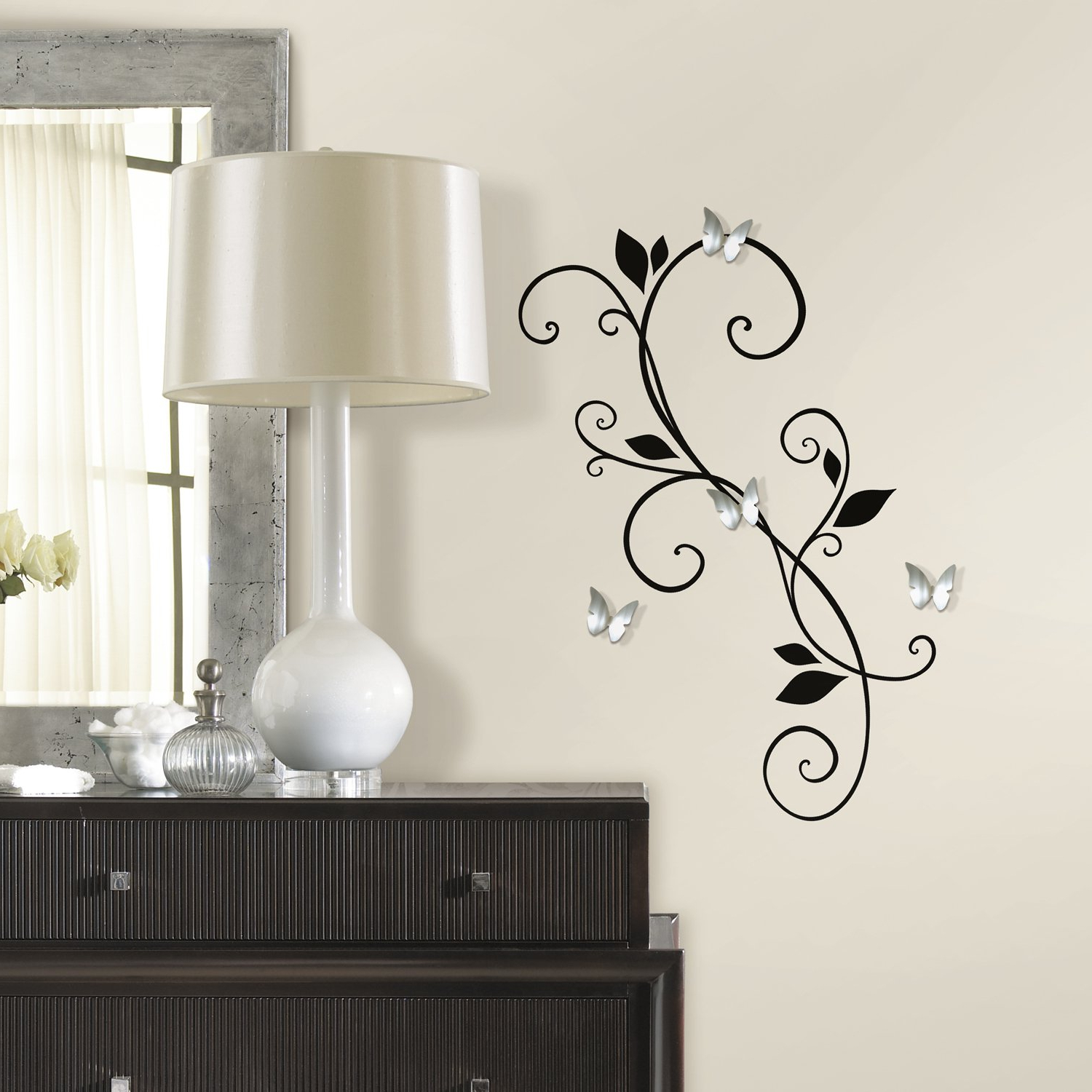 Stick On Wall Mirrors Within Fashionable Roommates Scroll Sconce Peel And Stick Wall Decals With Bendable Butterfly Mirrors (View 12 of 20)