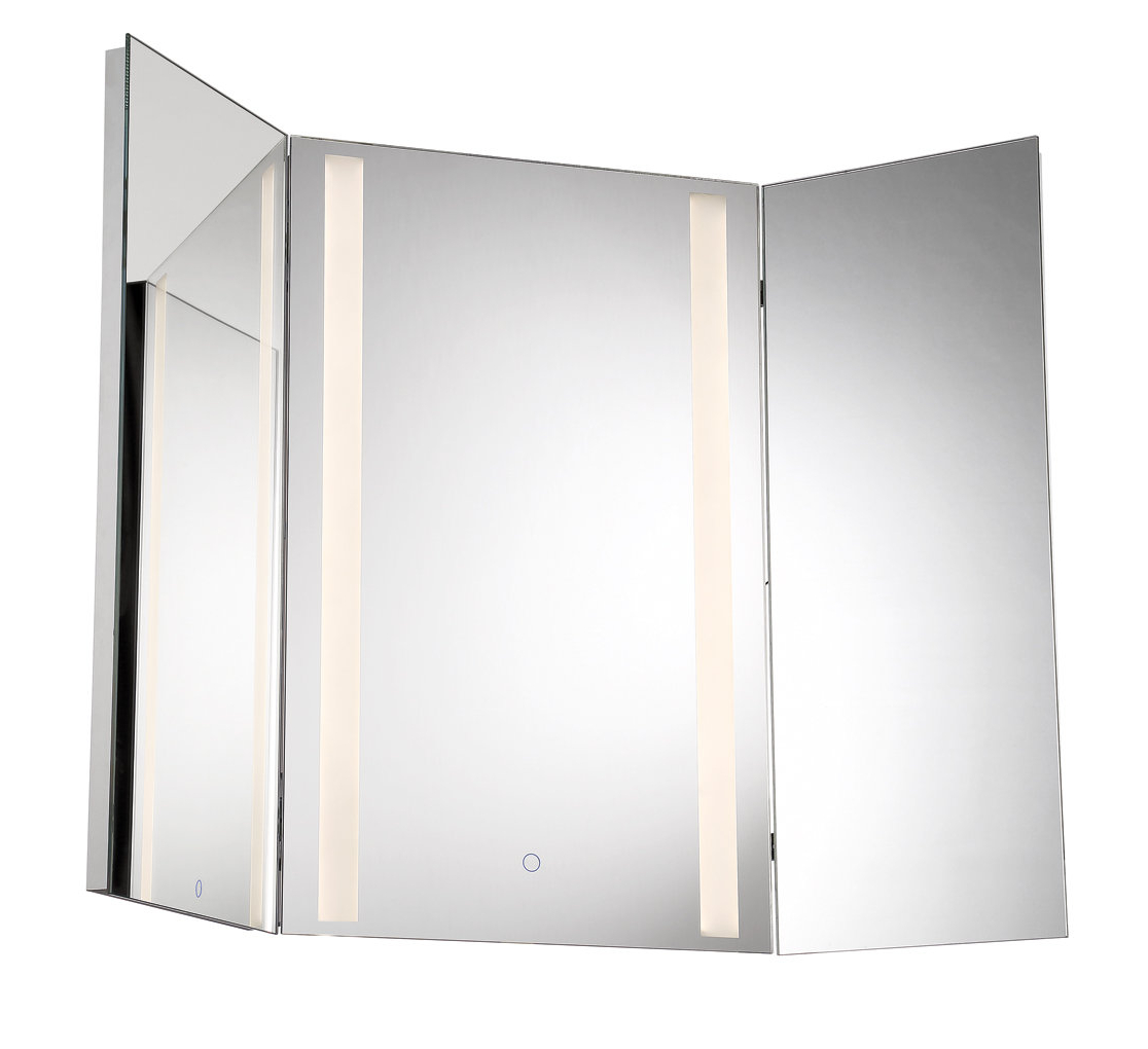 Stoltenberg Tri Fold Led Bathroom/vanity Mirror Intended For Trendy Tri Fold Bathroom Wall Mirrors (View 6 of 20)